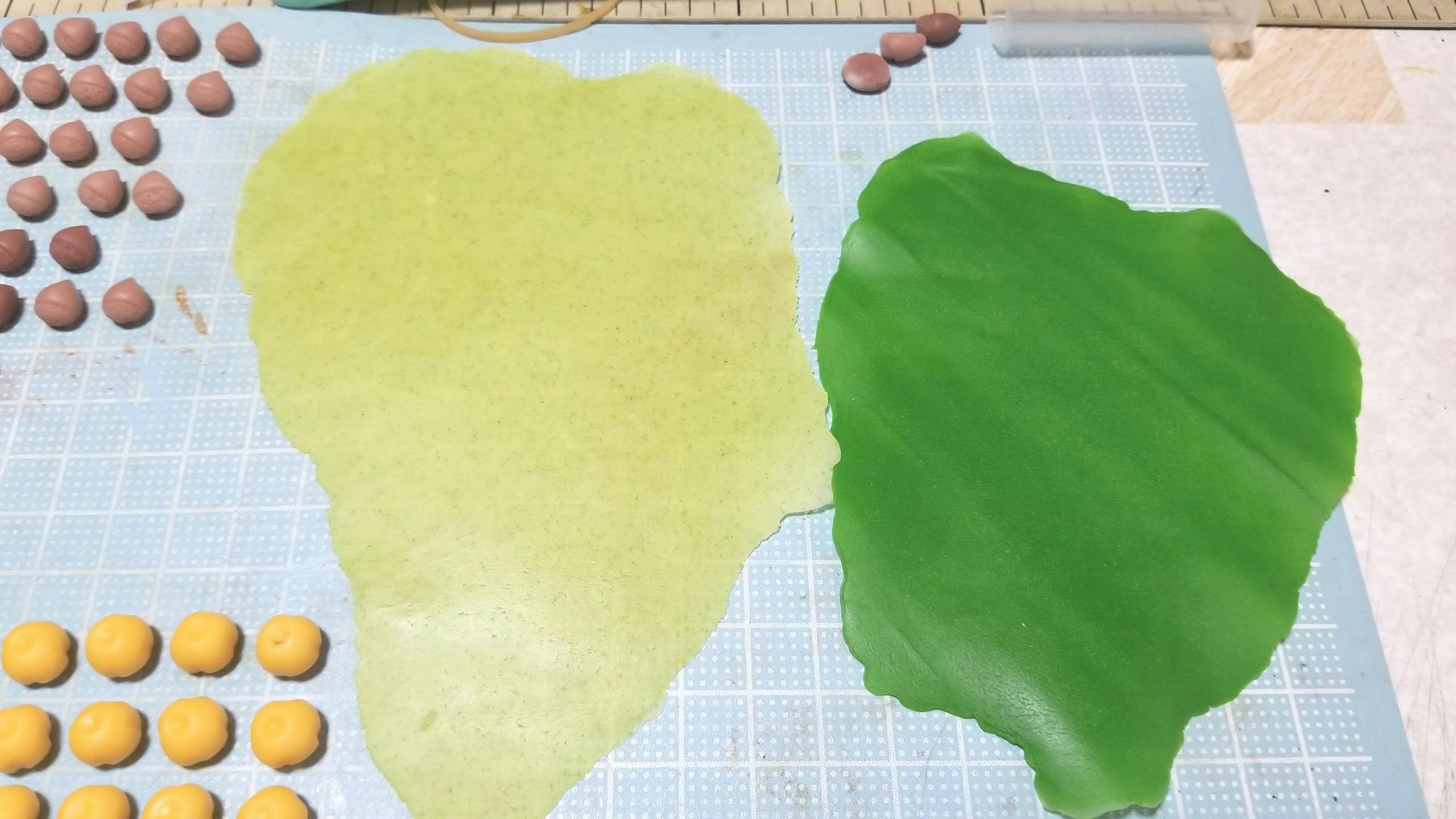 ミニチュアフード,和菓子,柿の葉,作り方,樹脂粘土,食欲の秋