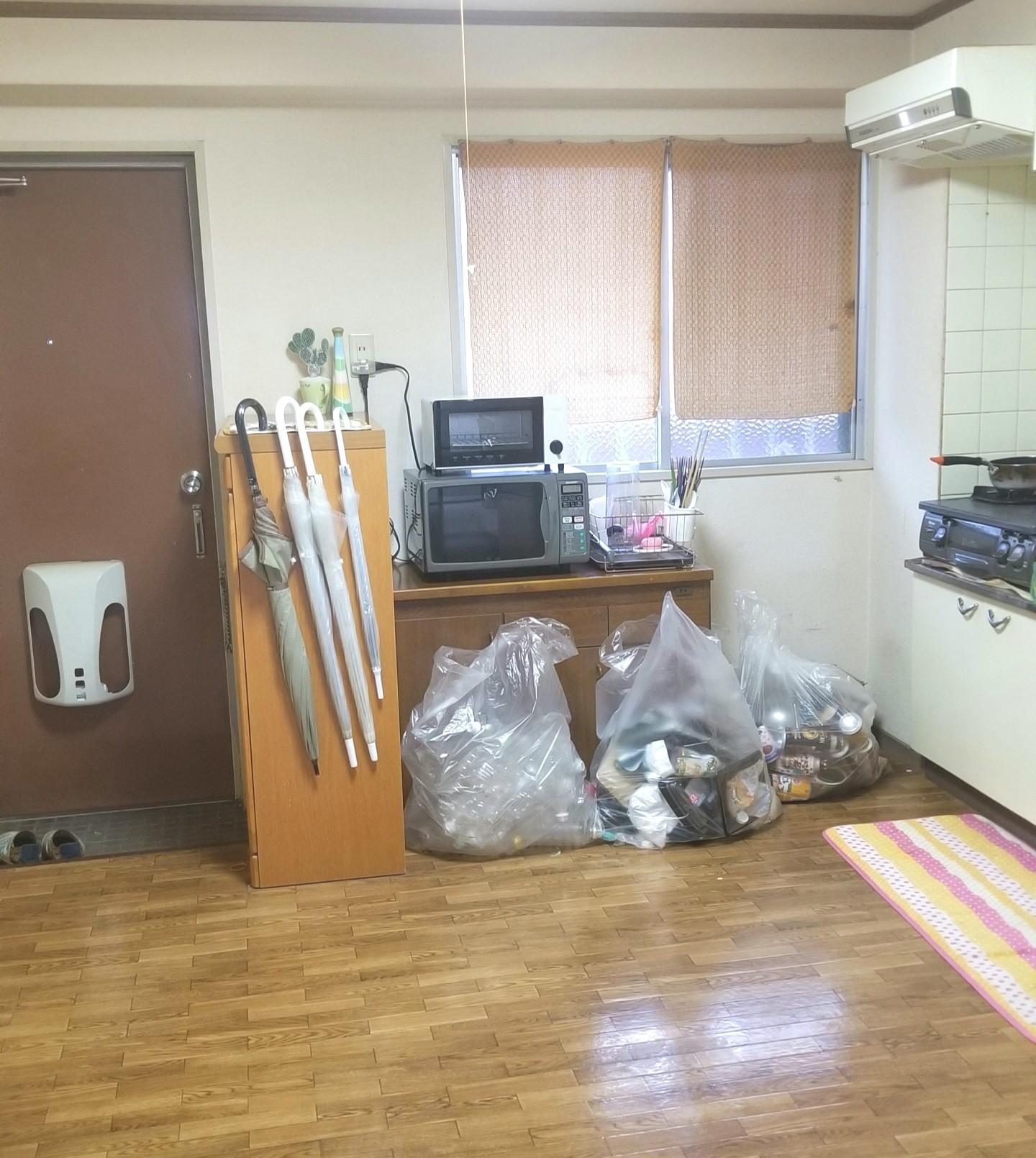 キッチン台所,床拭き,フローリング,後ろスペース,ゴミ袋収納,間取り