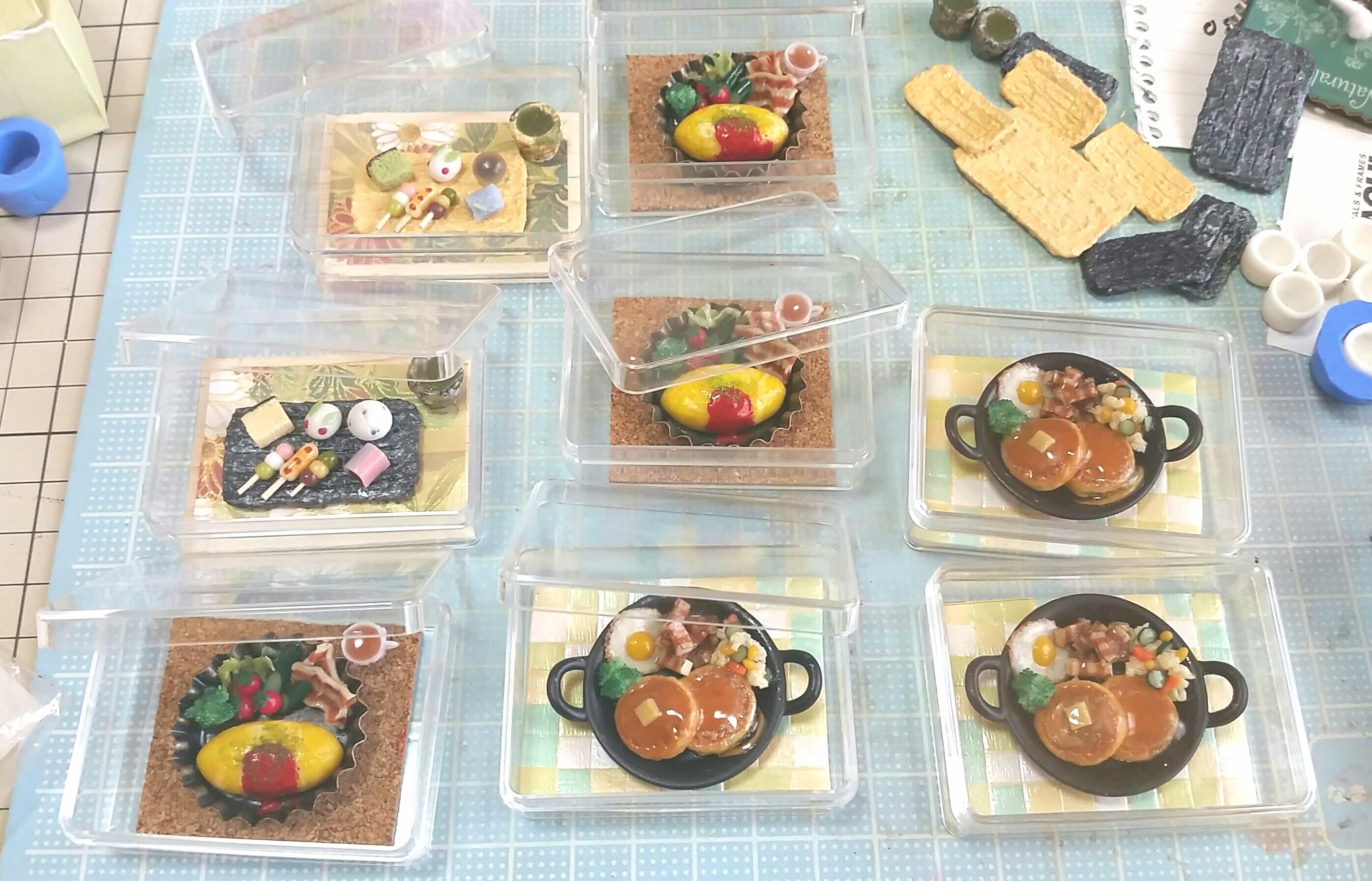 ミニチュアフード製作,手作りオムライス,自作パンケーキ,樹脂粘土
