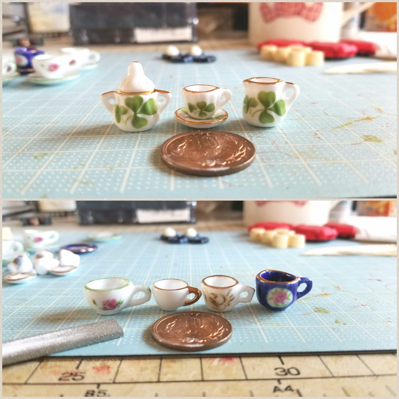 ミニチュアフードの作り方,可愛いデザインの陶器のティーセット