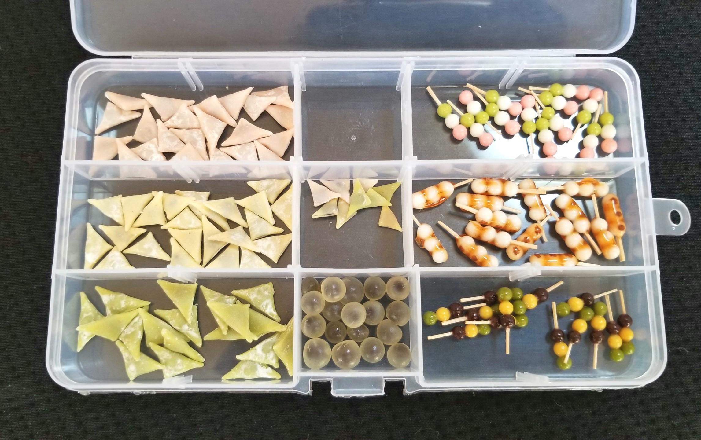 ミニチュア,樹脂粘土,和菓子,八ツ橋,団子,水まんじゅう,シルバニア