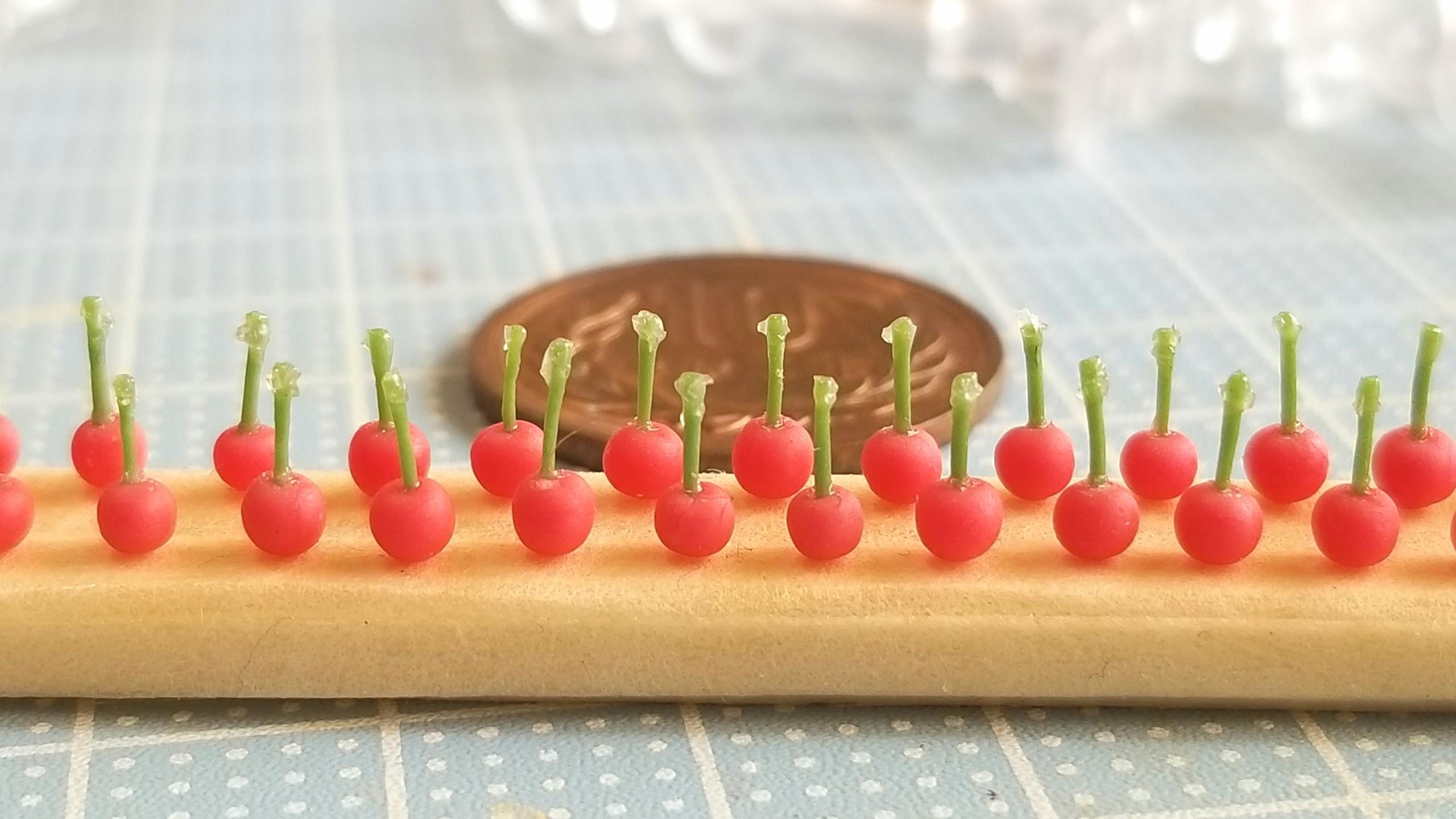 さくらんぼの作り方,ミニチュアフード,チェリー,フルーツ,フェイク
