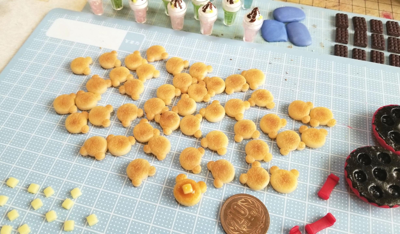 作り方,クマ,ホットケーキ,樹脂粘土,ミニチュアフード,食品サンプル