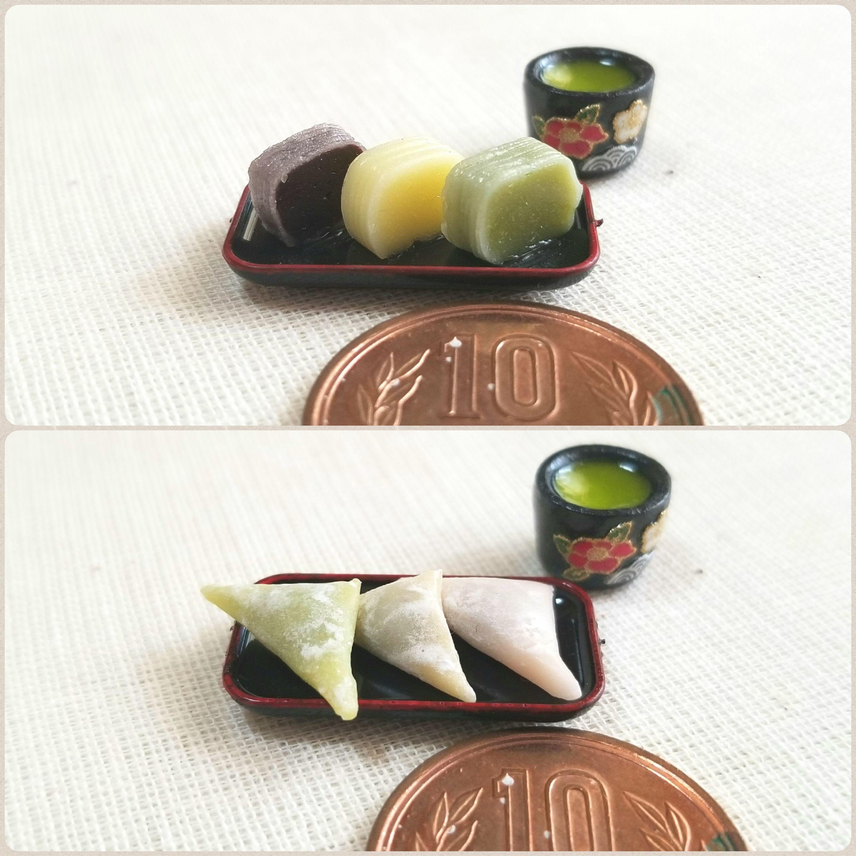 生菓子,和菓子屋,ミニチュア,生八ッ橋,三色ようかん,小さくて可愛い
