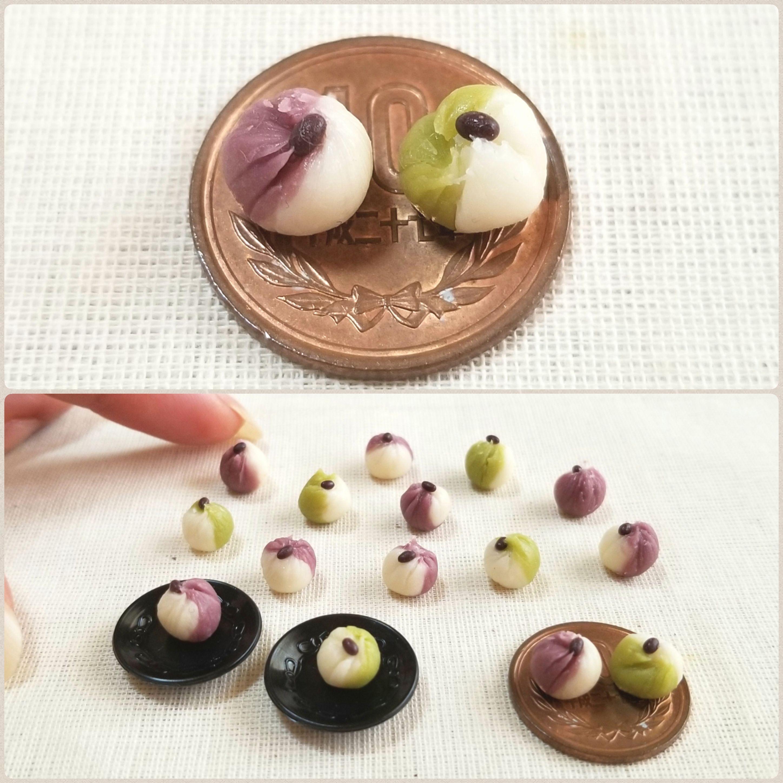 かわいい美味しそうな和菓子,ミニチュアフード,樹脂粘土,ミンネ販売