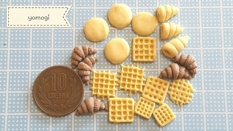ミニチュアフード,かわいいワッフルパン,樹脂粘土,まとめ画像,自作