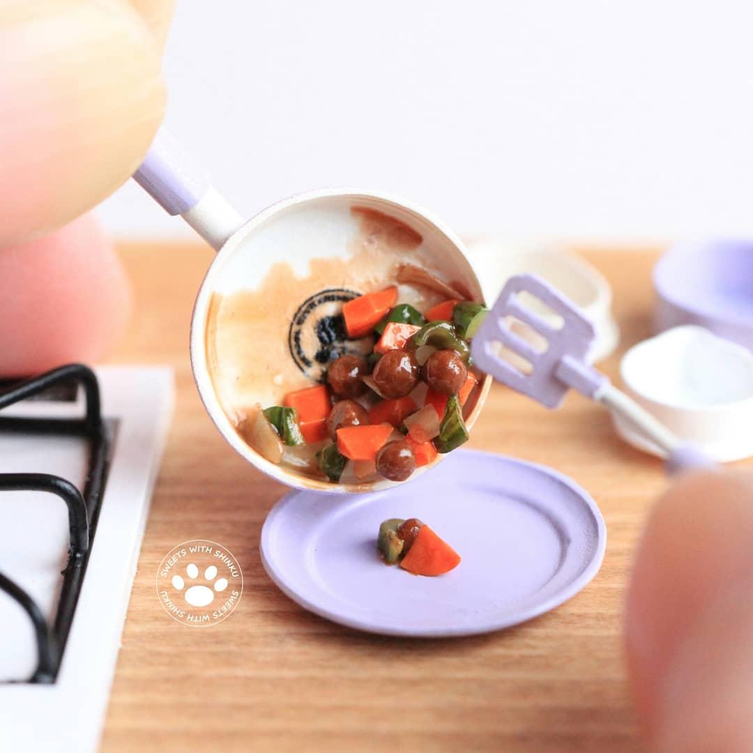 Shinku,楽しいお料理,肉だんご,クッキング,ミニチュア中華あんかけ