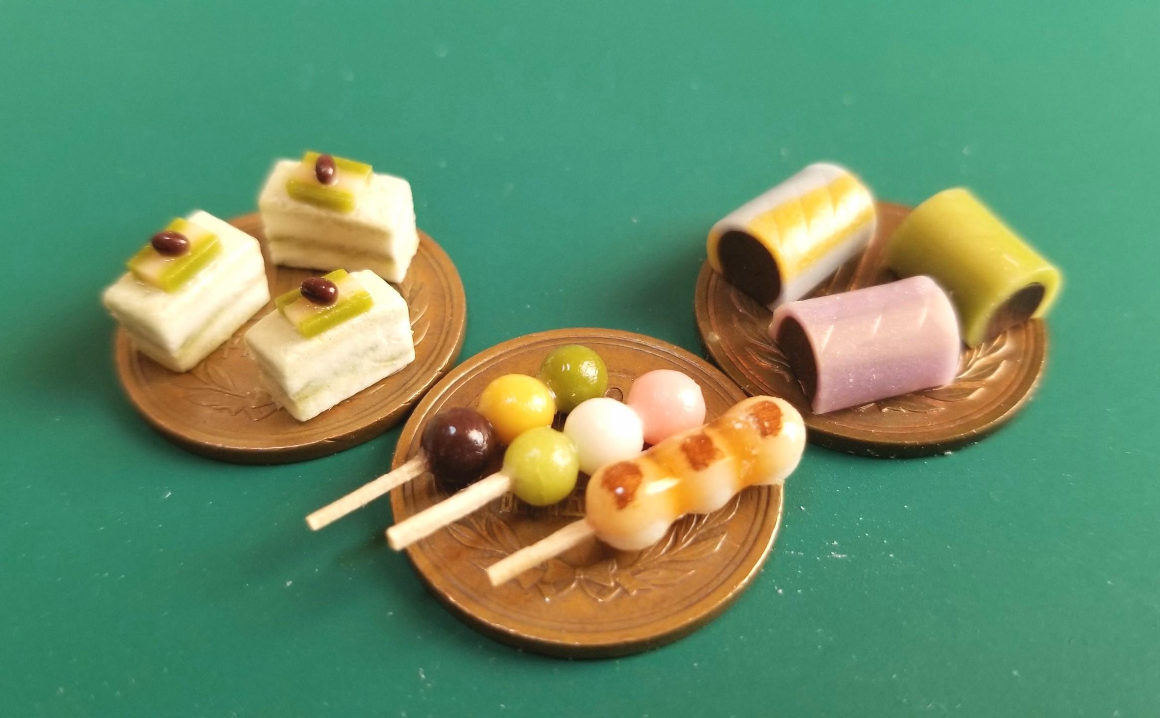 ミニチュアフード,和菓子,抹茶ムース,団子,樹脂粘土,食品サンプル
