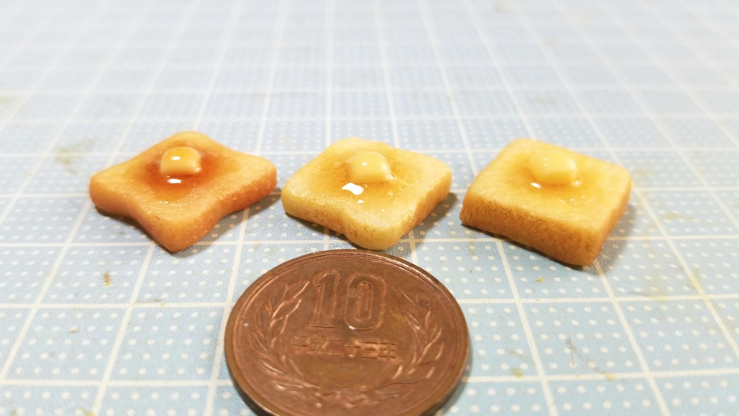 バタートースト,ミニチュアフード,樹脂粘土,こんがり美味しそう