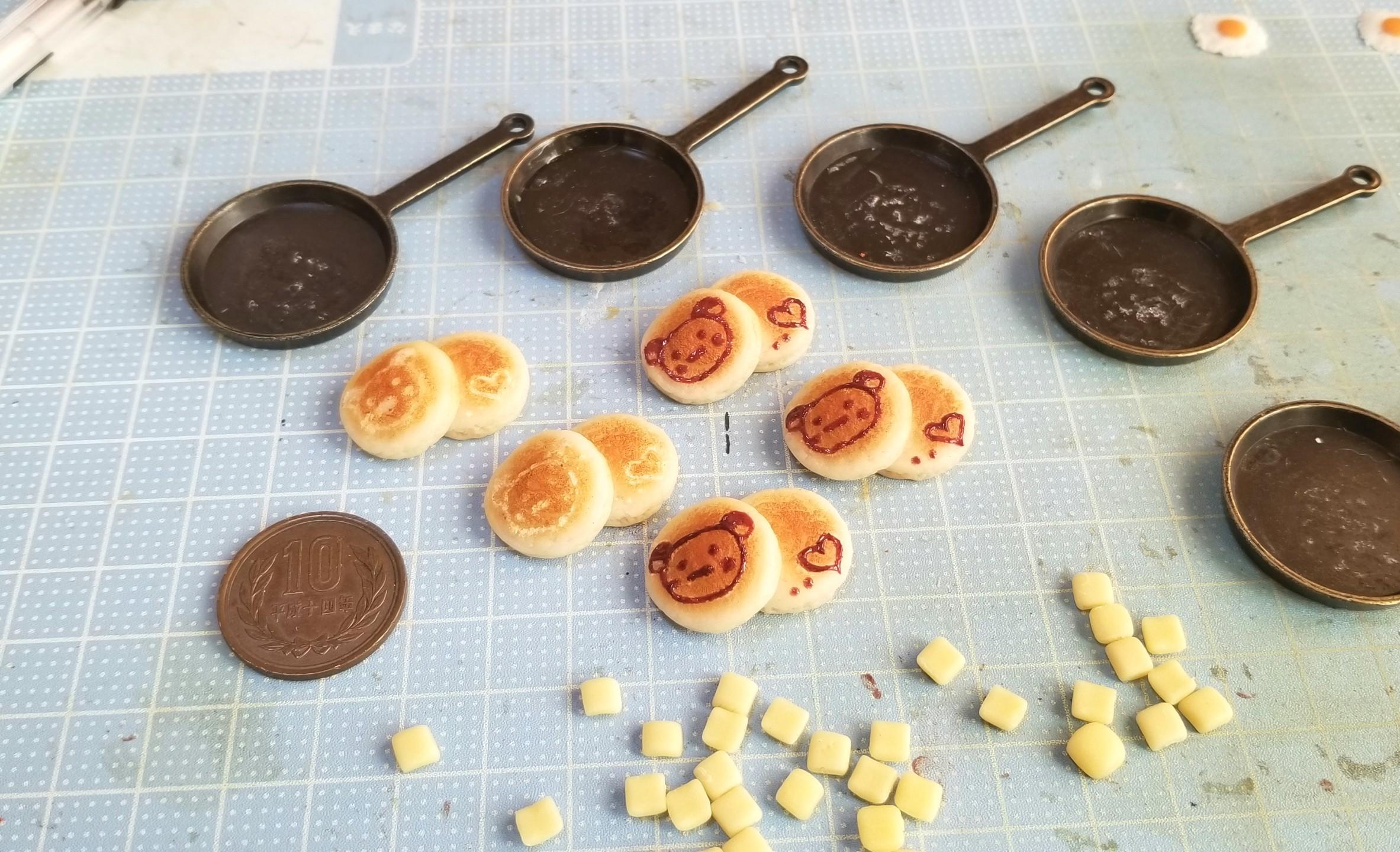 ミニチュア,ホットケーキの作り方,樹脂粘土,ドールハウス,オビツ