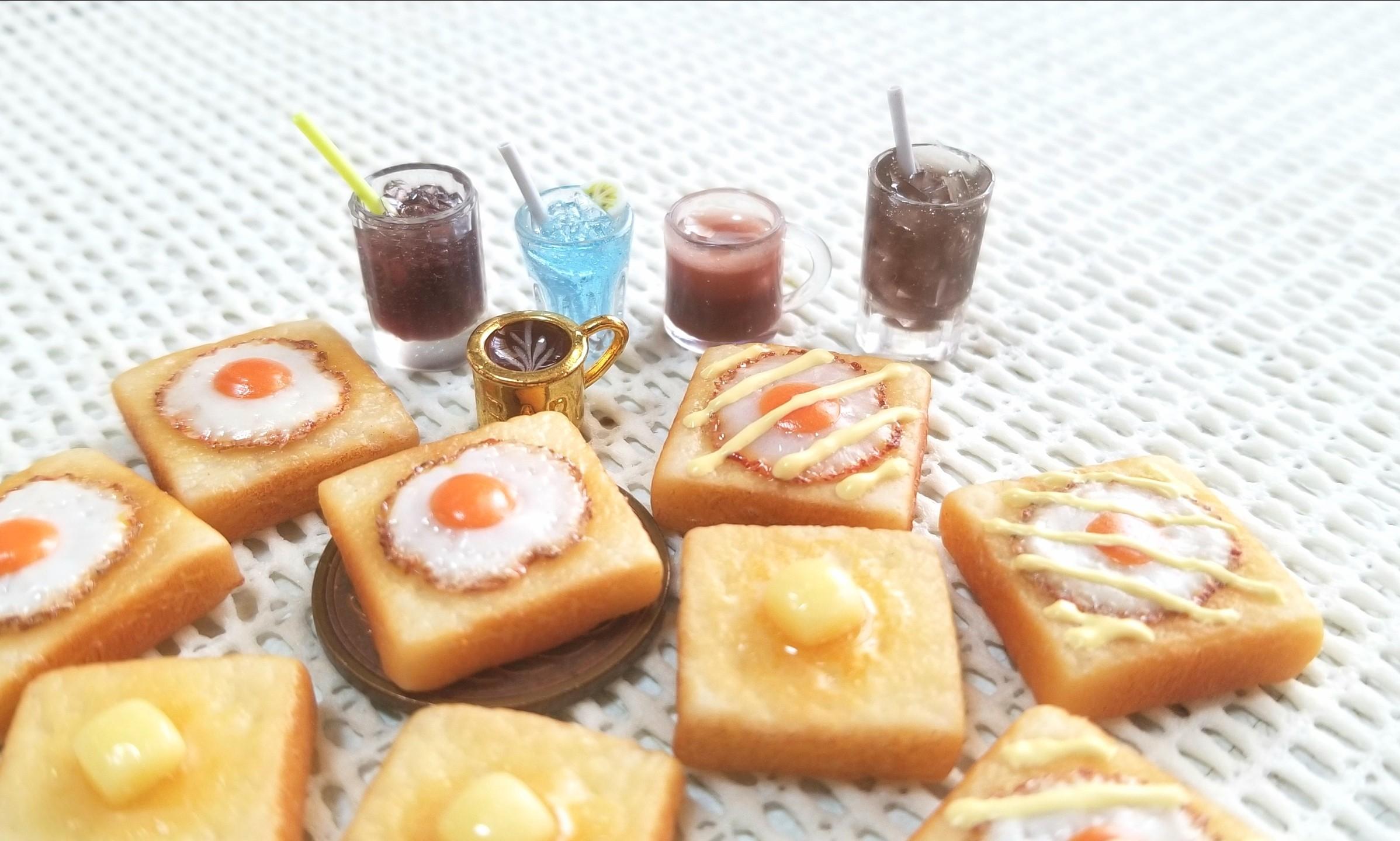 ミニチュア,ミンネで販売中,樹脂粘土,トースト,ジュース,サンプル