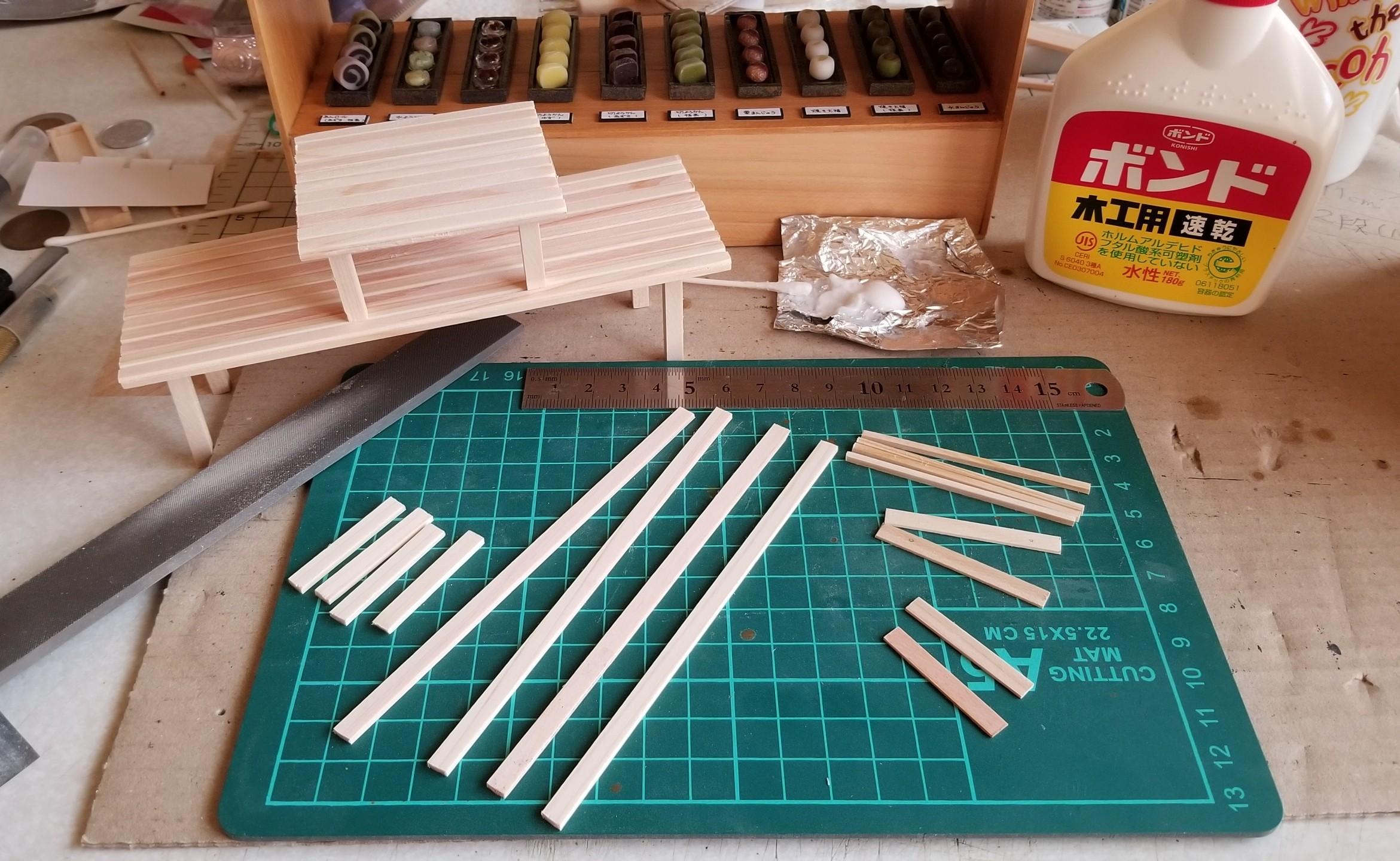 ミニチュア,ドール,机,長椅子,テーブル,和菓子屋,作り方,DIY,可愛い