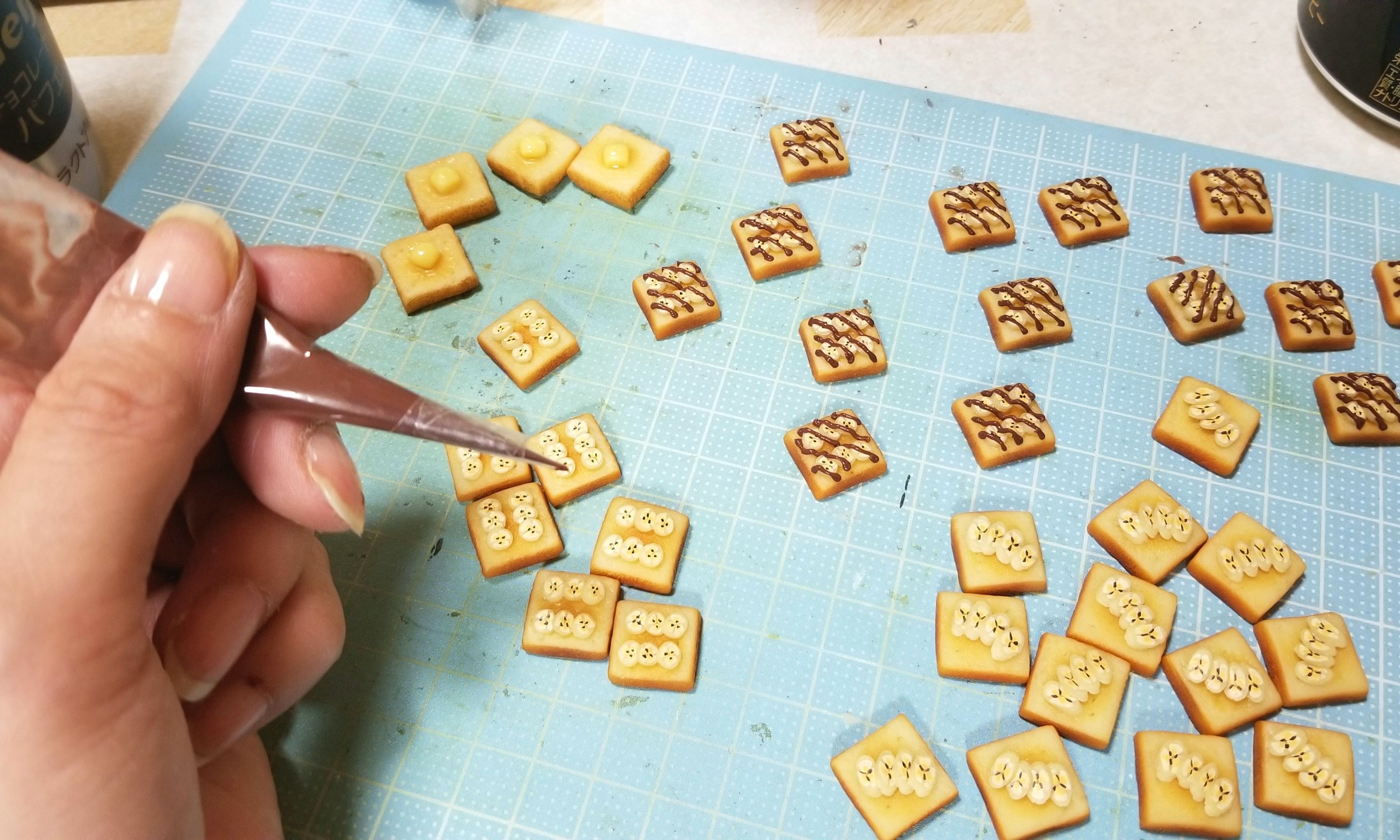 ミニチュア,チョコバナナトースト,作り方,樹脂粘土,フェイクフード