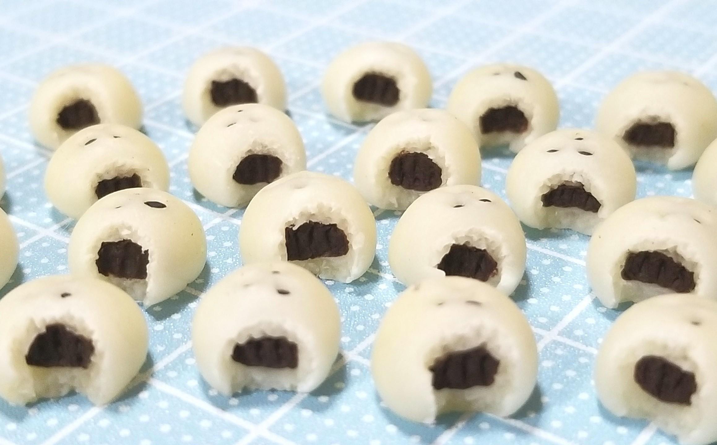 ミニチュアフード,あんぱんの作り方,食べかけ,かじりかけ,樹脂粘土