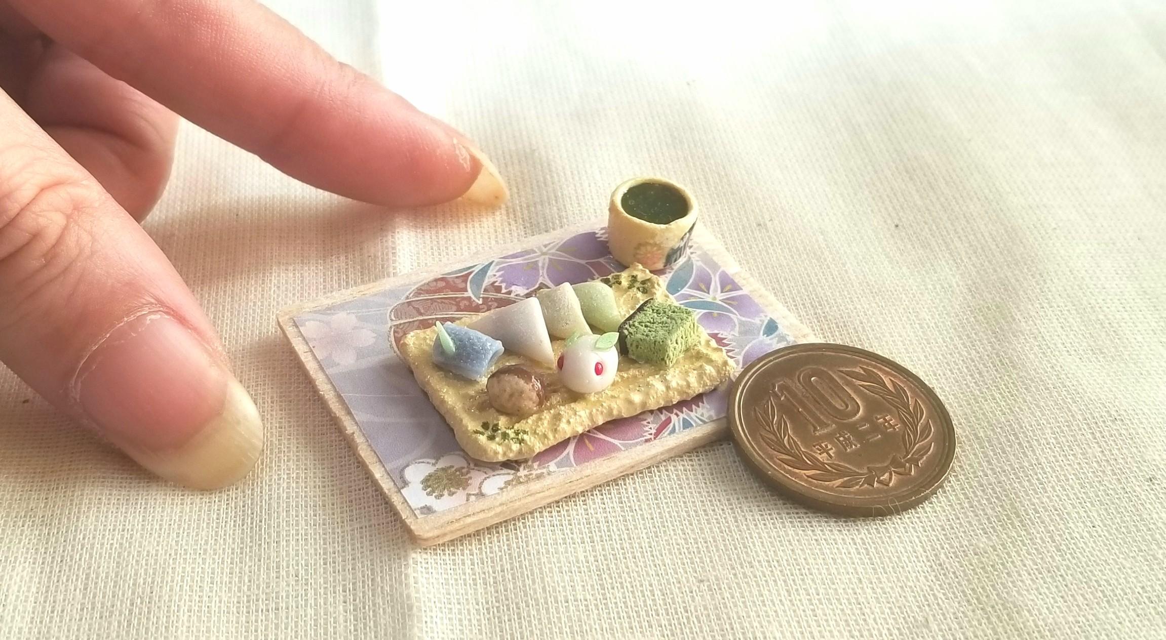 八ツ橋,うさぎ饅頭,栗まんじゅう,和菓子,ミニチュアフード,ミンネ