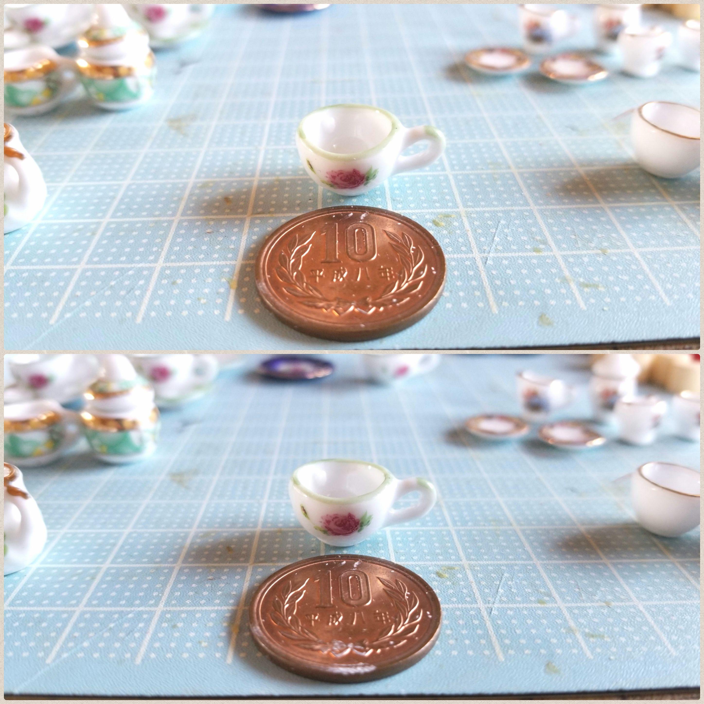 ミニチュアフード作り方,陶器のティーセット,ビフォーアフター