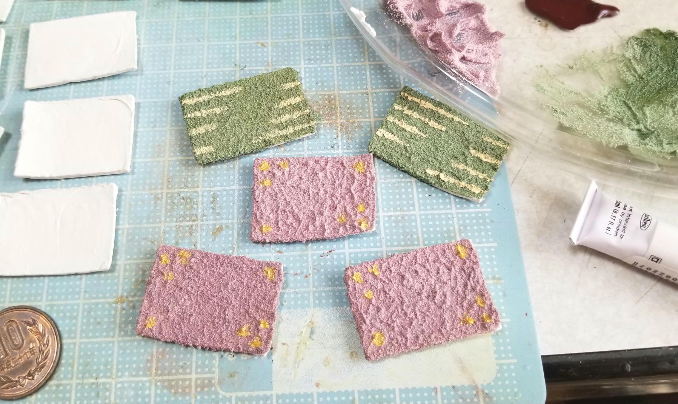 ミニチュア,和食器の作り方,お皿,陶器風,着色,ラドール,樹脂粘土