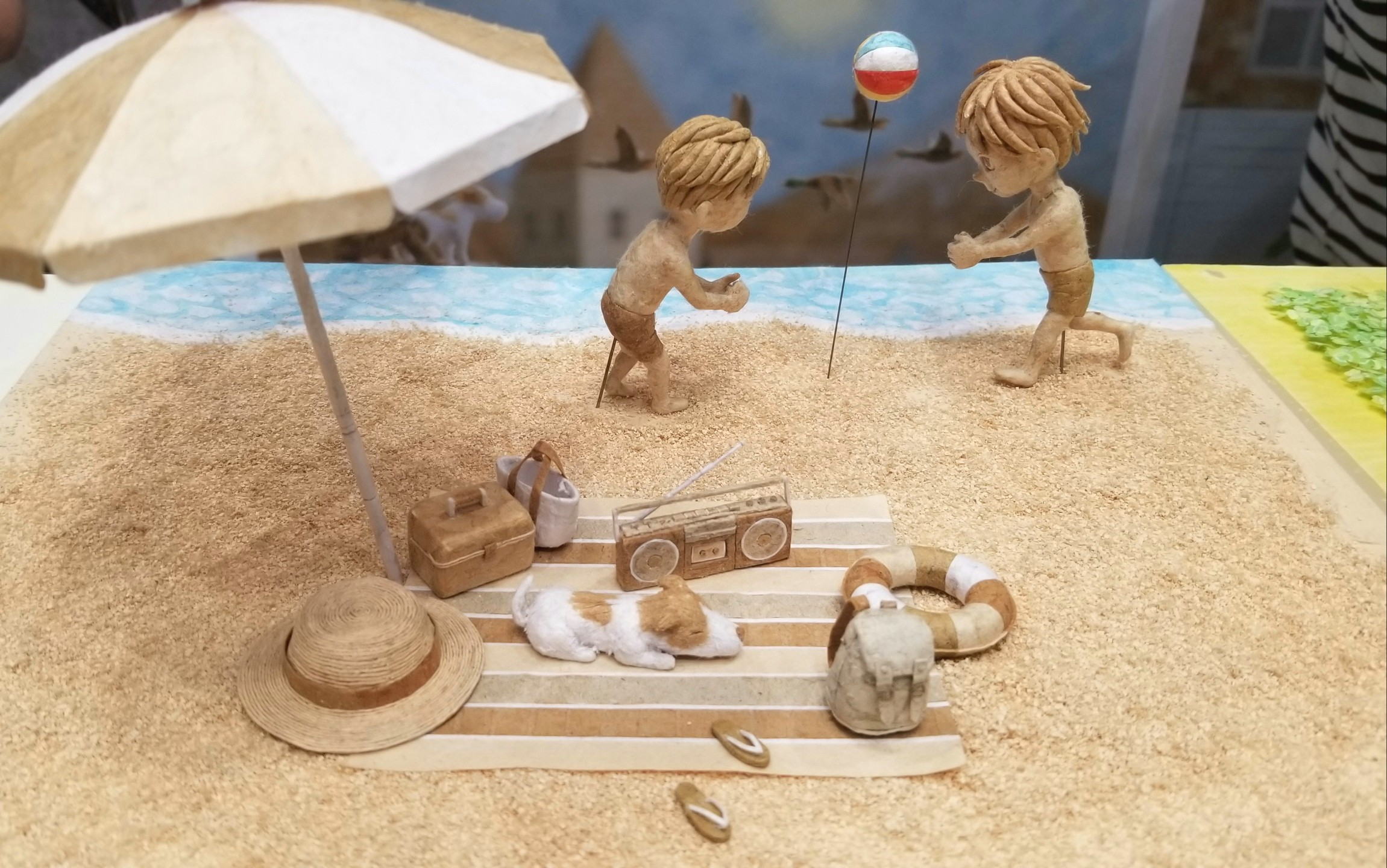 KazuhiroKanazawa,ミニチュア, 海水浴,砂浜,紙アート, ハンドメイド