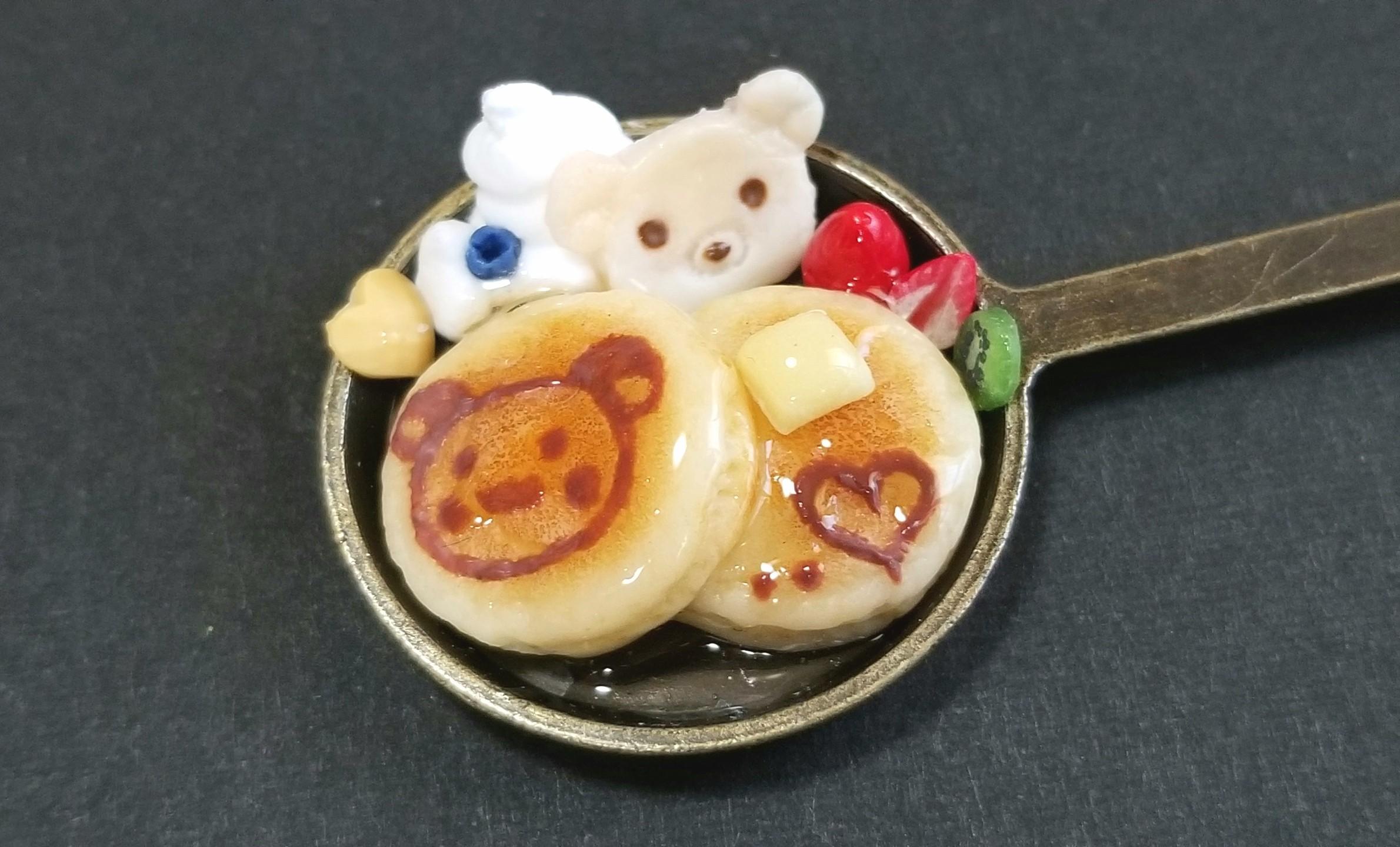 ミニチュアフード,クマちゃんのホットケーキ,ドールハウス,樹脂粘土
