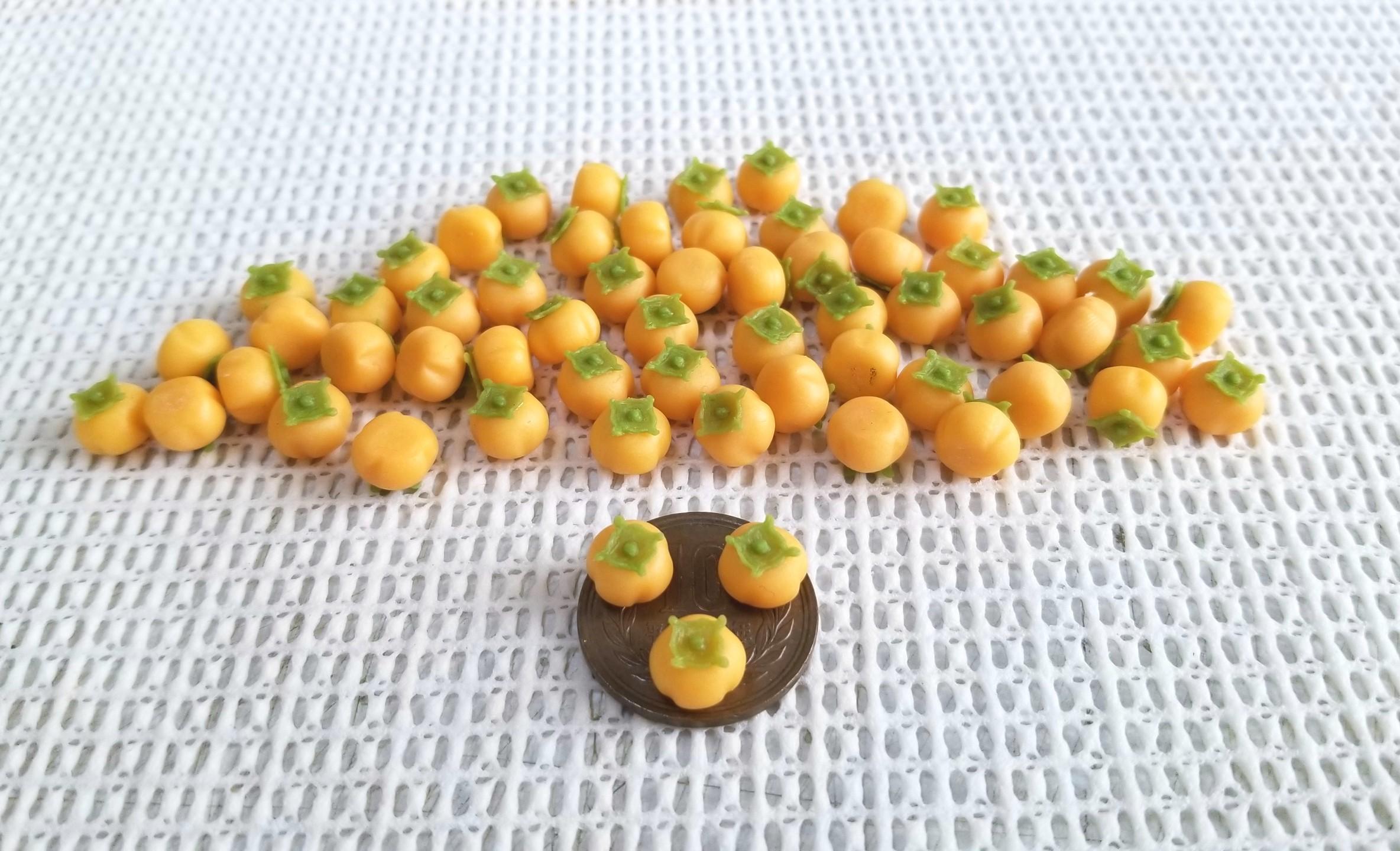 ミニチュアフード,和菓子,柿,樹脂粘土,オビツろいど,練りきり
