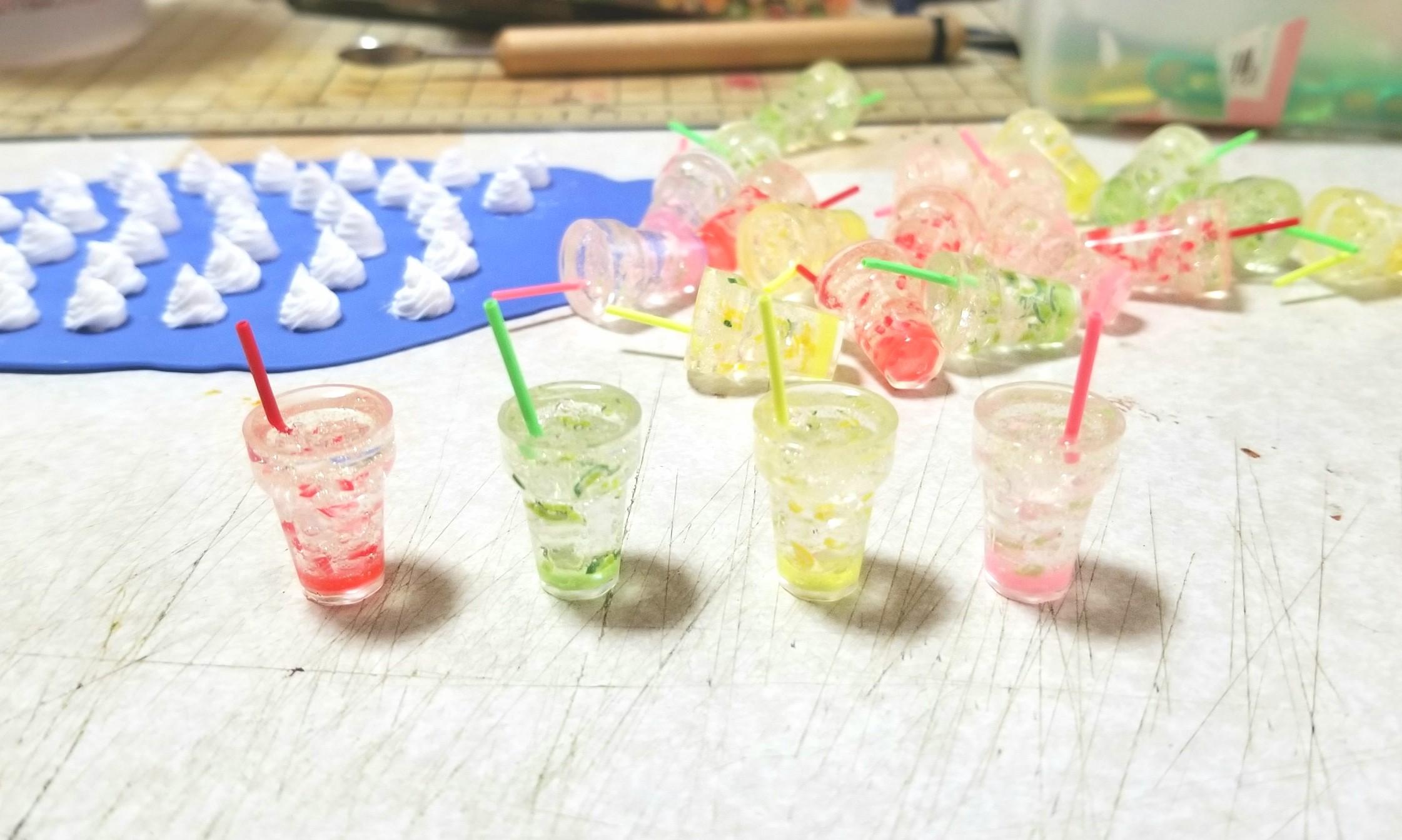 フルーツソーダ,UVレジン,ジュース,ミニチュアフード,フェイクフード