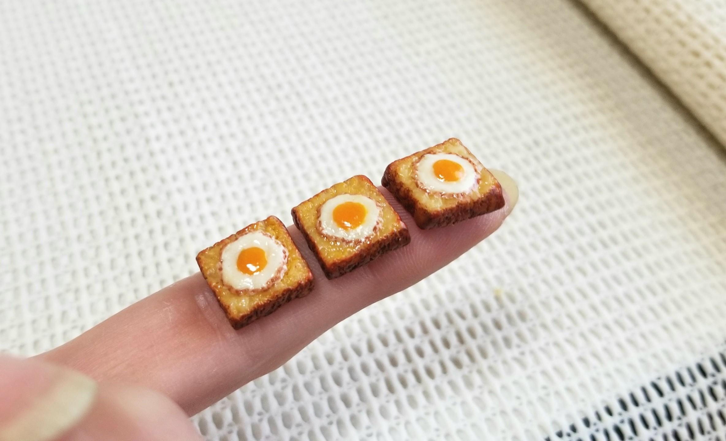 ミニチュアフード, 目玉焼きトースト, 食パン, 樹脂粘土, シルバニア
