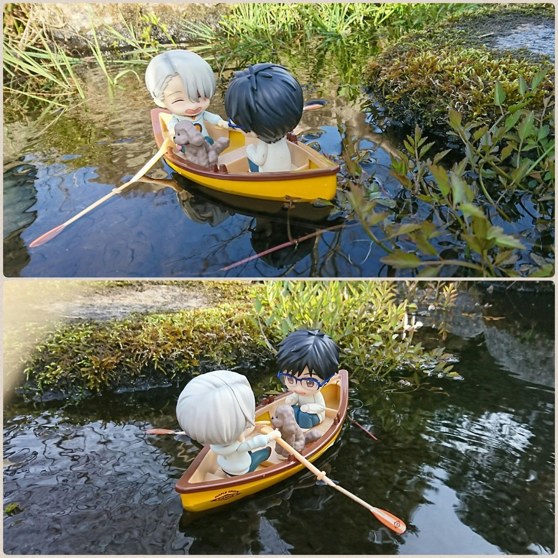 水辺でボート乗り,漕ぐ,水遊び,楽しそう,ねんどろいどヴィクトル