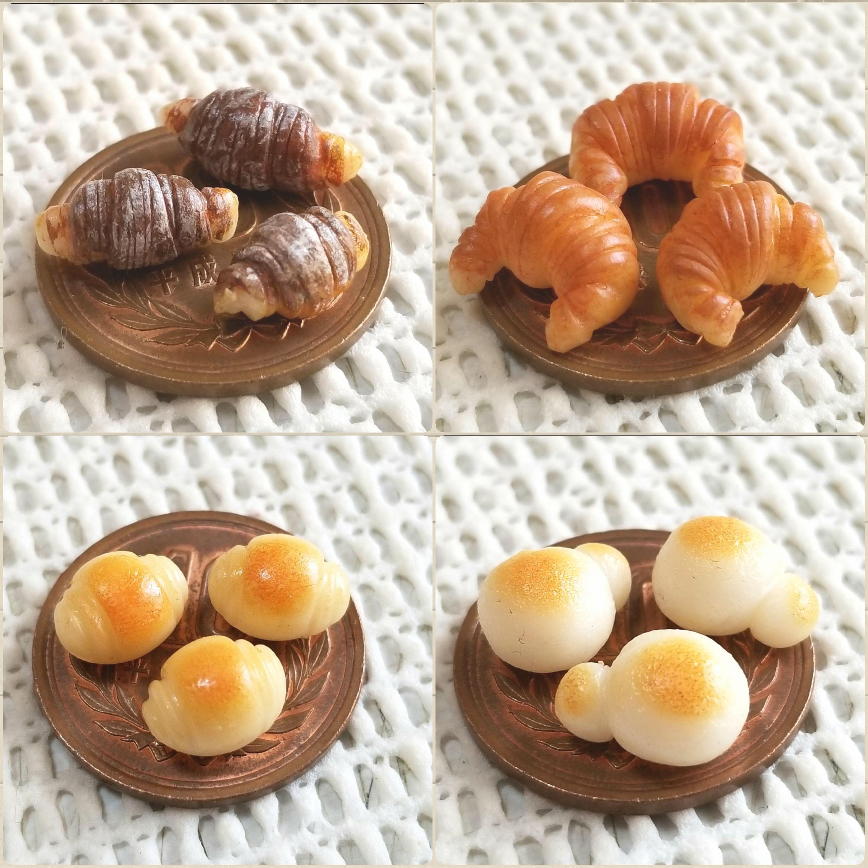 ミニチュアフード,チョコクロワッサン,白パン,ドール用品小物,食玩