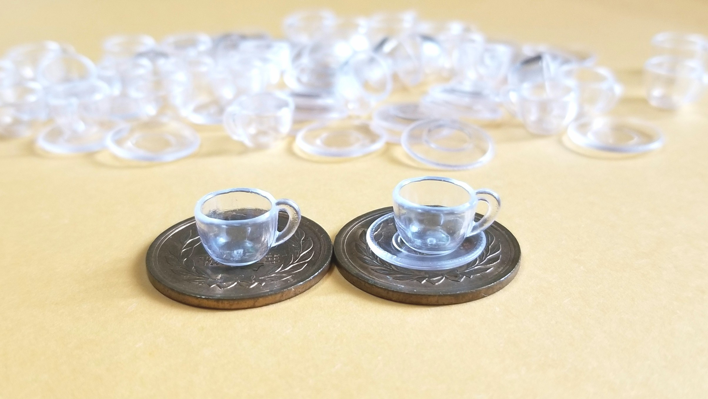 ミニチュアフード用の透明グラス,コップ,ティーカップ,既製品購入