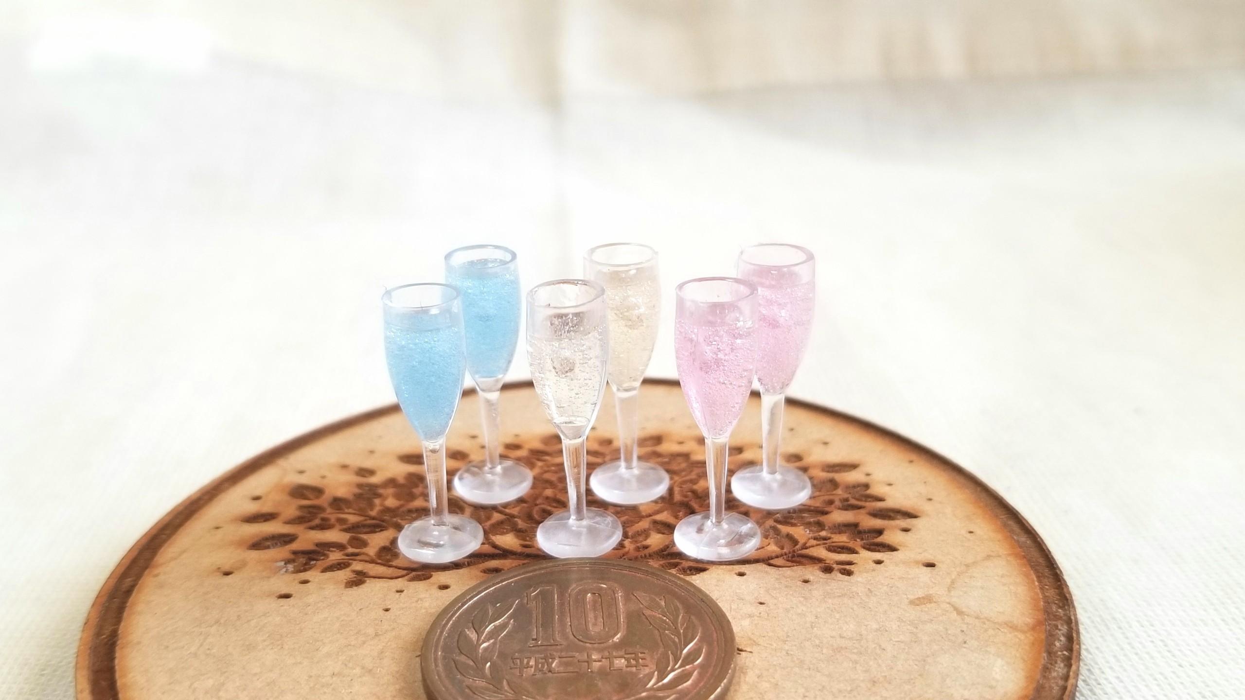 ミニチュアフード,レジン,シャンパン,ワイン,ミンネで販売中,ドール