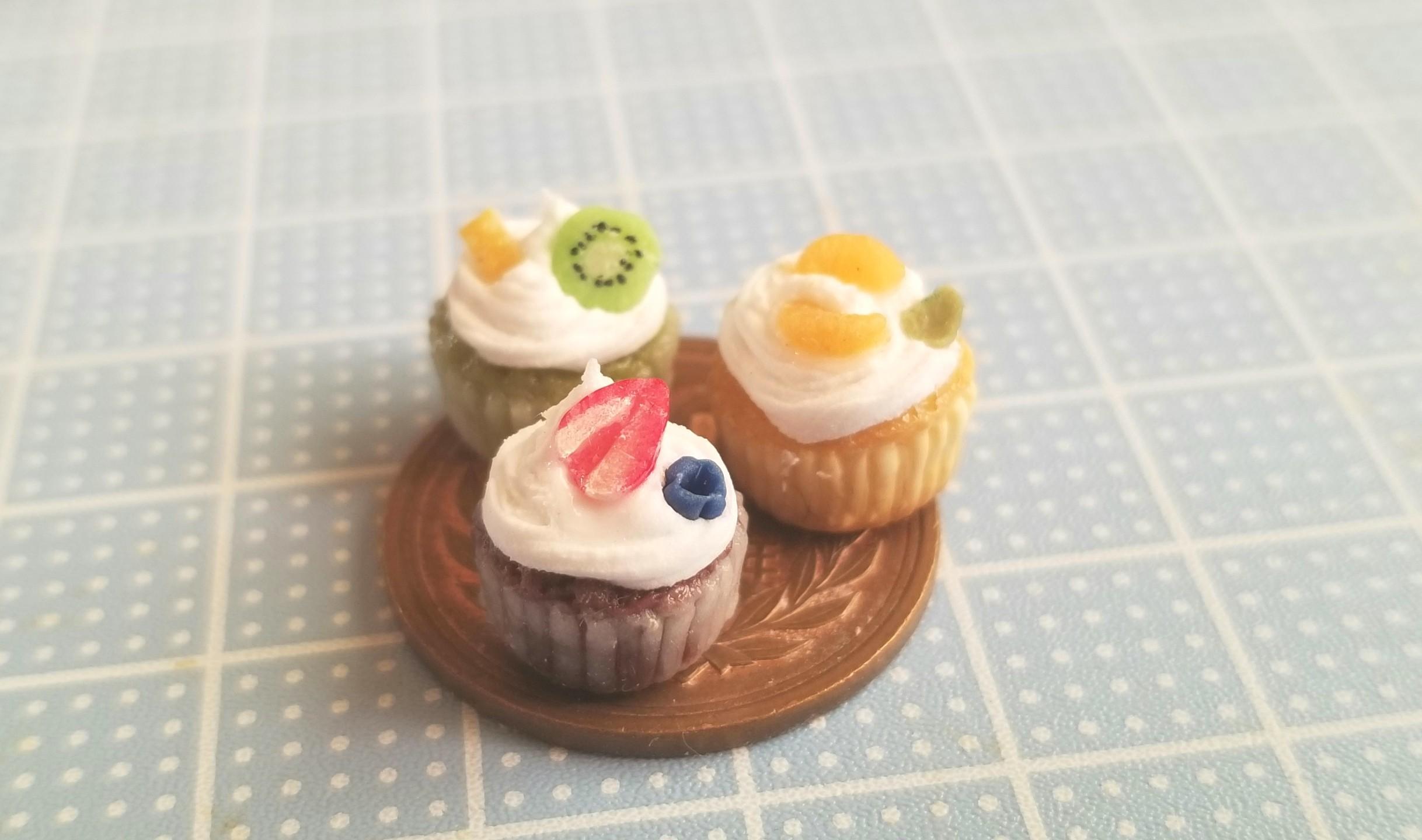 カップケーキ,フルーツ,樹脂粘土,ミニチュアフード,ねんどろいど