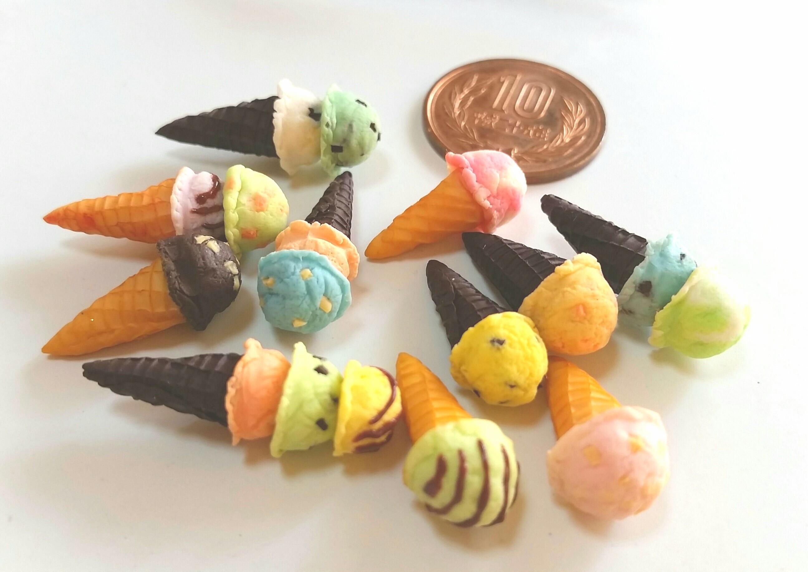 ミニチュアフード,アイスクリーム,樹脂粘土,フェイク,ドール用,人形