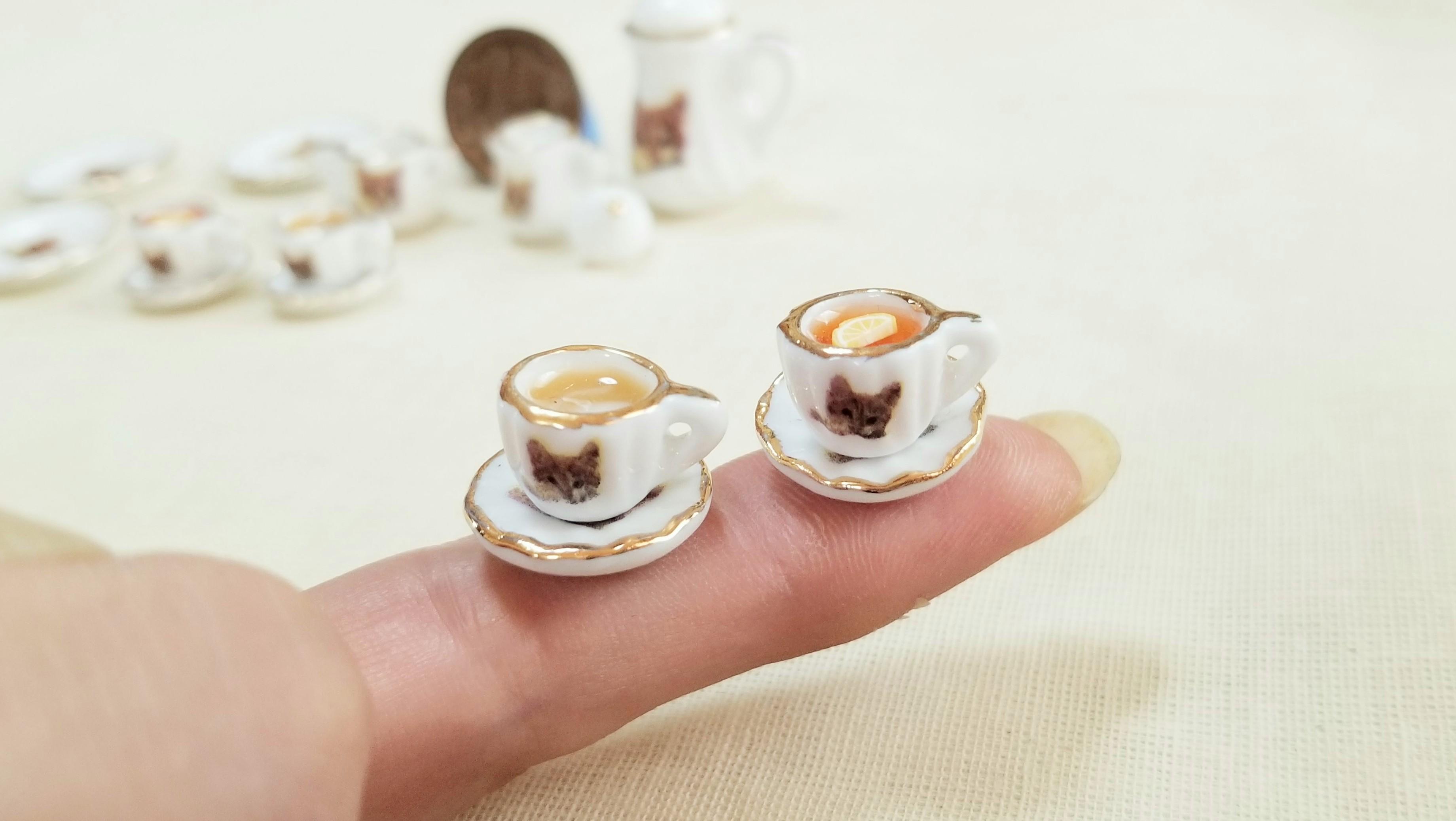 かわいい陶器のティーカップマグ猫柄にゃんこドリンク飲み物おいしい