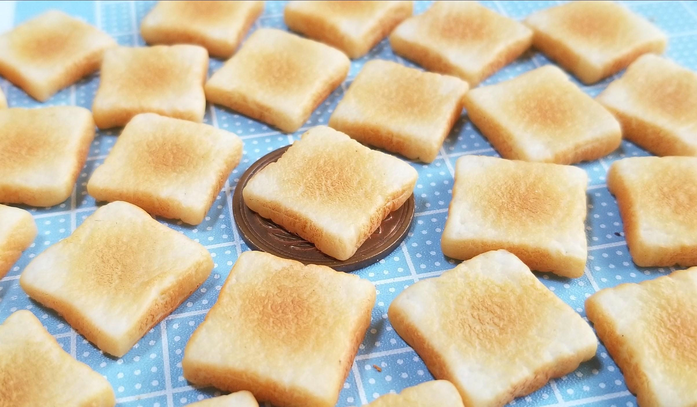 ミニチュア,食パン,バタートースト,作り方,樹脂粘土,サンプル,着色