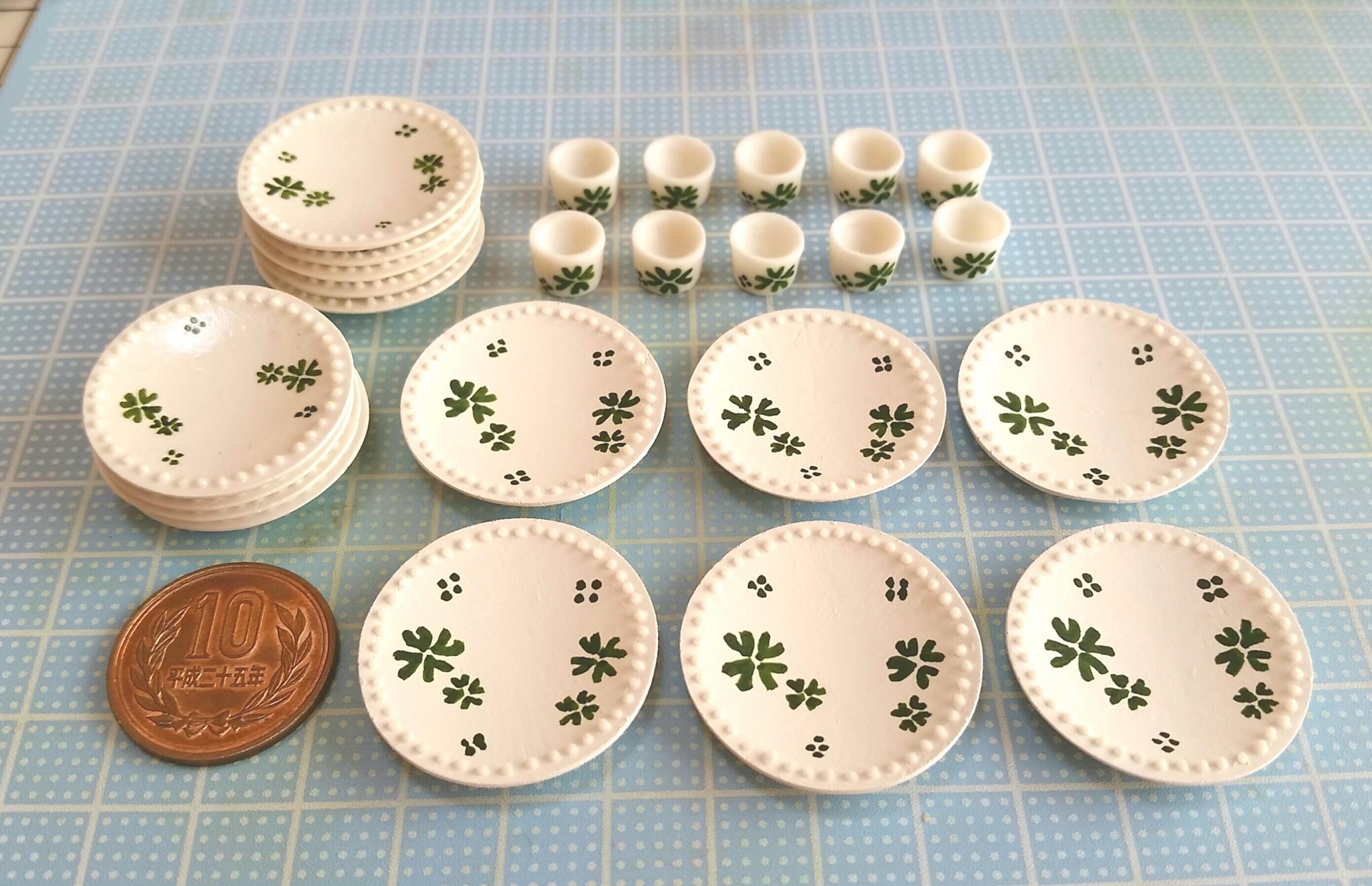ミニチュアフードまとめ,おしゃれな食器お皿,クローバー,樹脂粘土