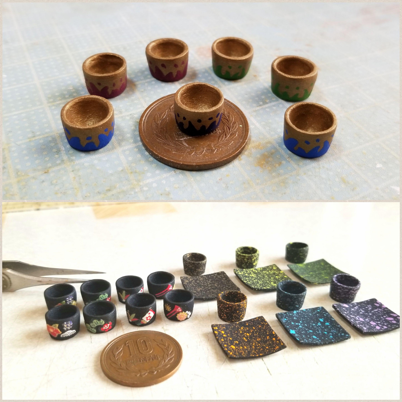 わかりやすいミニチュアフード,食器,コップの作り方,湯呑み,石粉粘土
