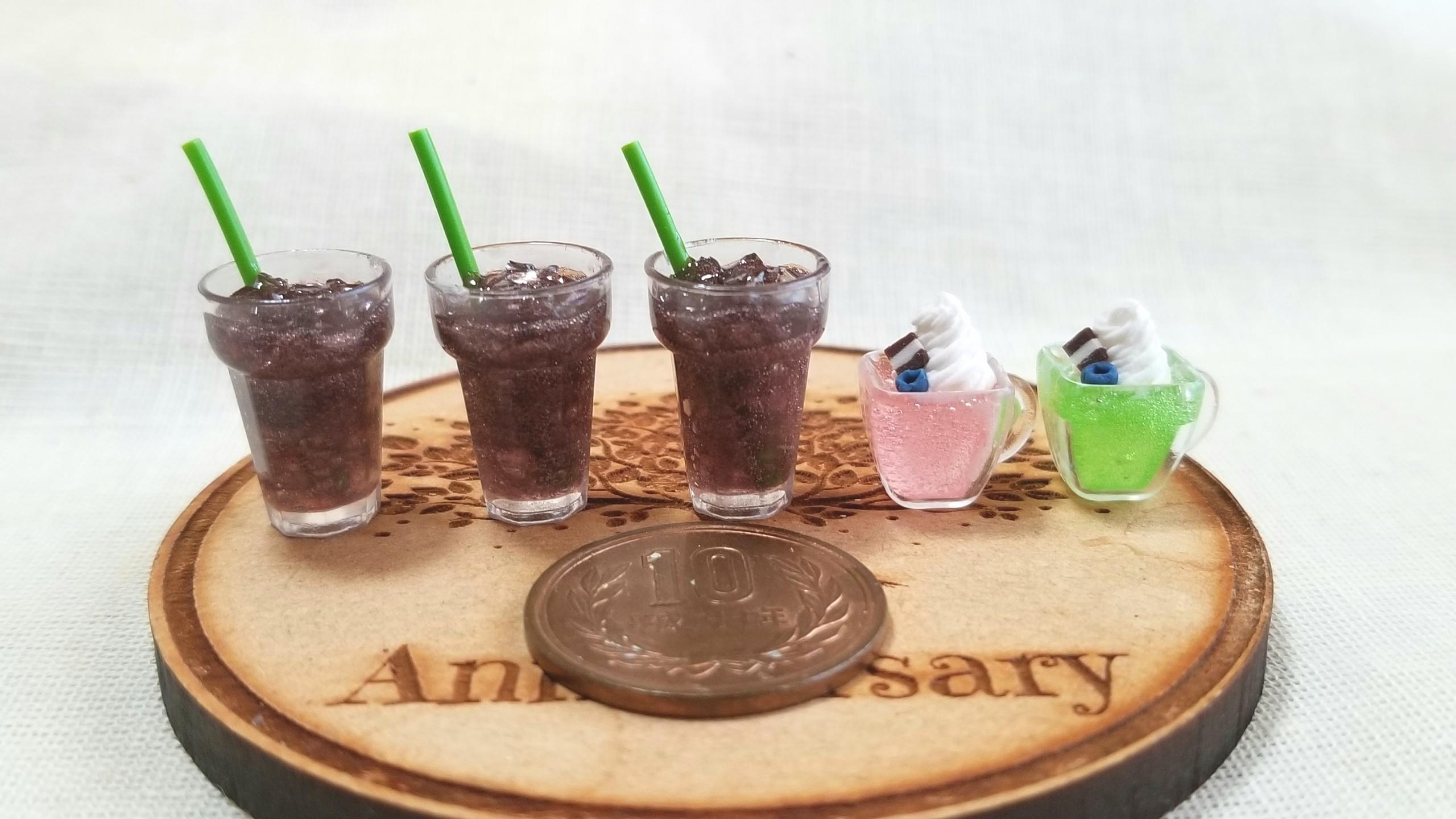 ドリンク,ジュース,コーラ,ミニチュアフード,樹脂粘土レジン,ミンネ