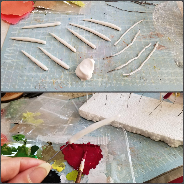 タコ,たこ焼き具材,作り方,樹脂粘土,ミニチュアフード.フェイク,作業