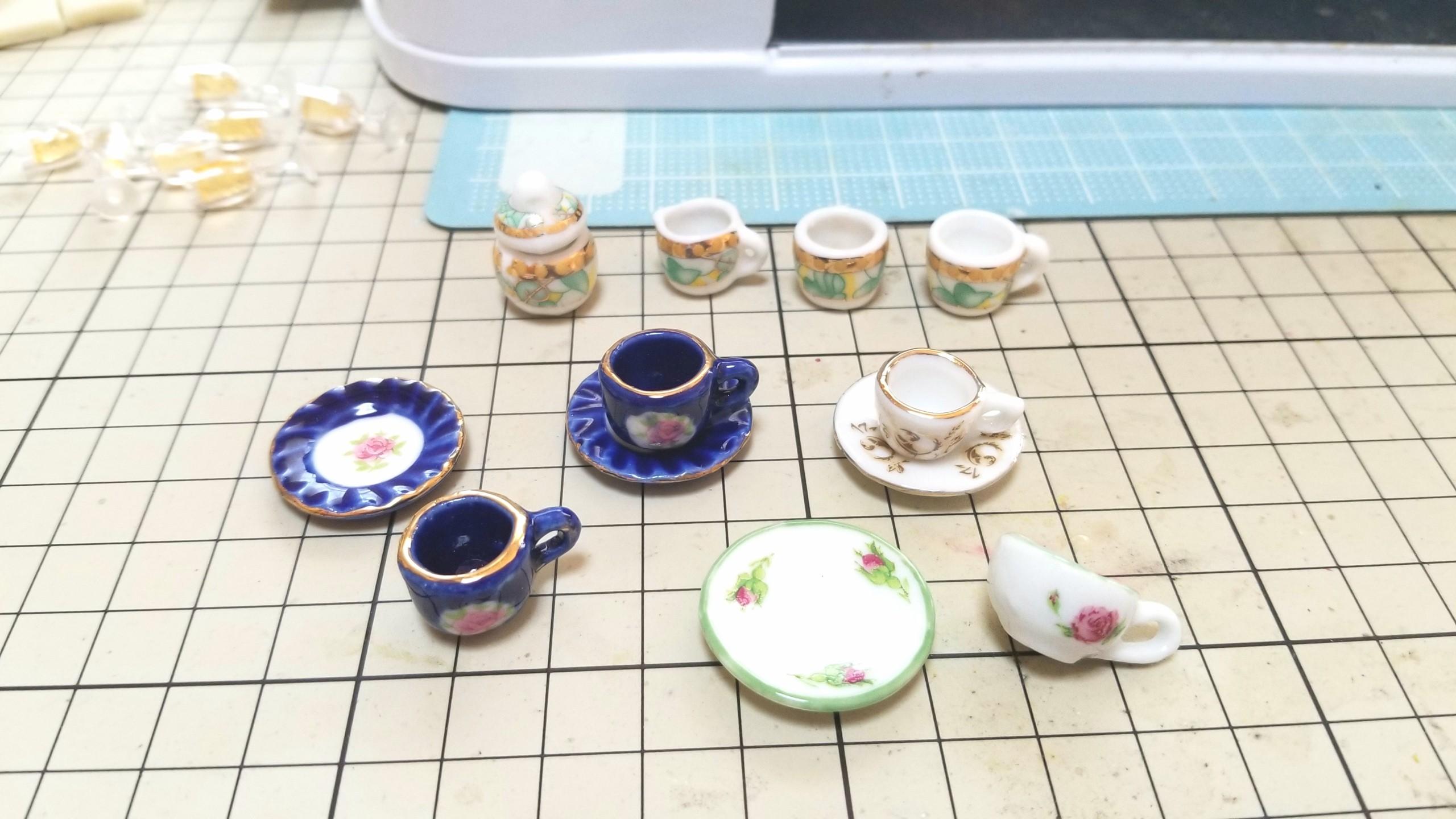 ミニチュア陶器のティーカップセット,お洒落なドール用小物おもちゃ