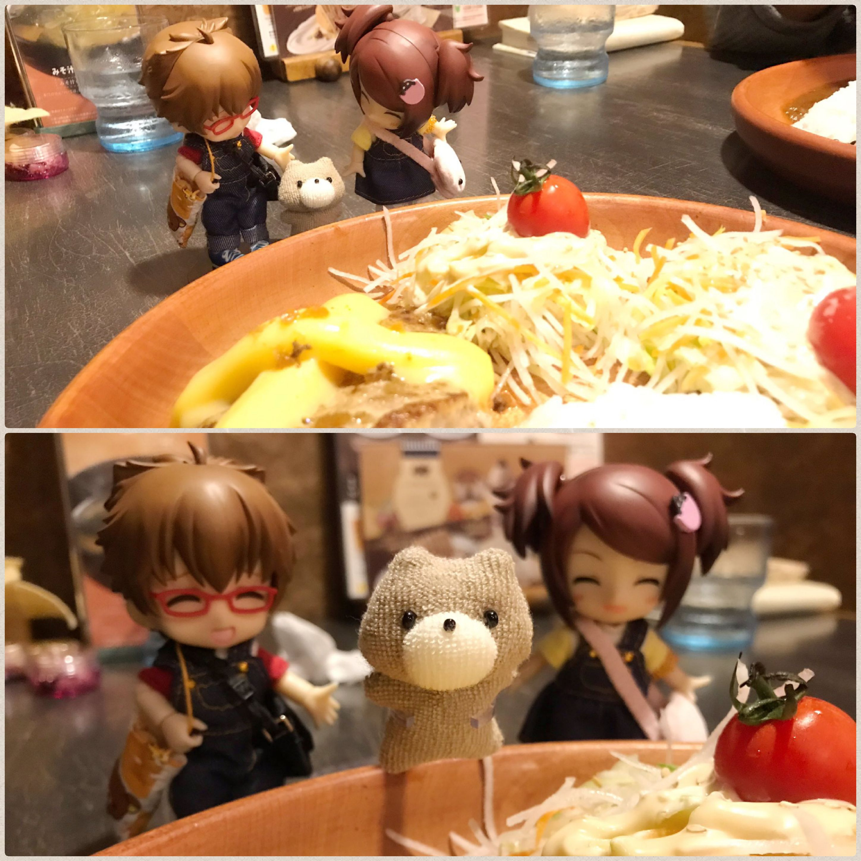 かわいいキューポッシュ,おでかけ外食,ご飯,ドール,くまのグリちゃん