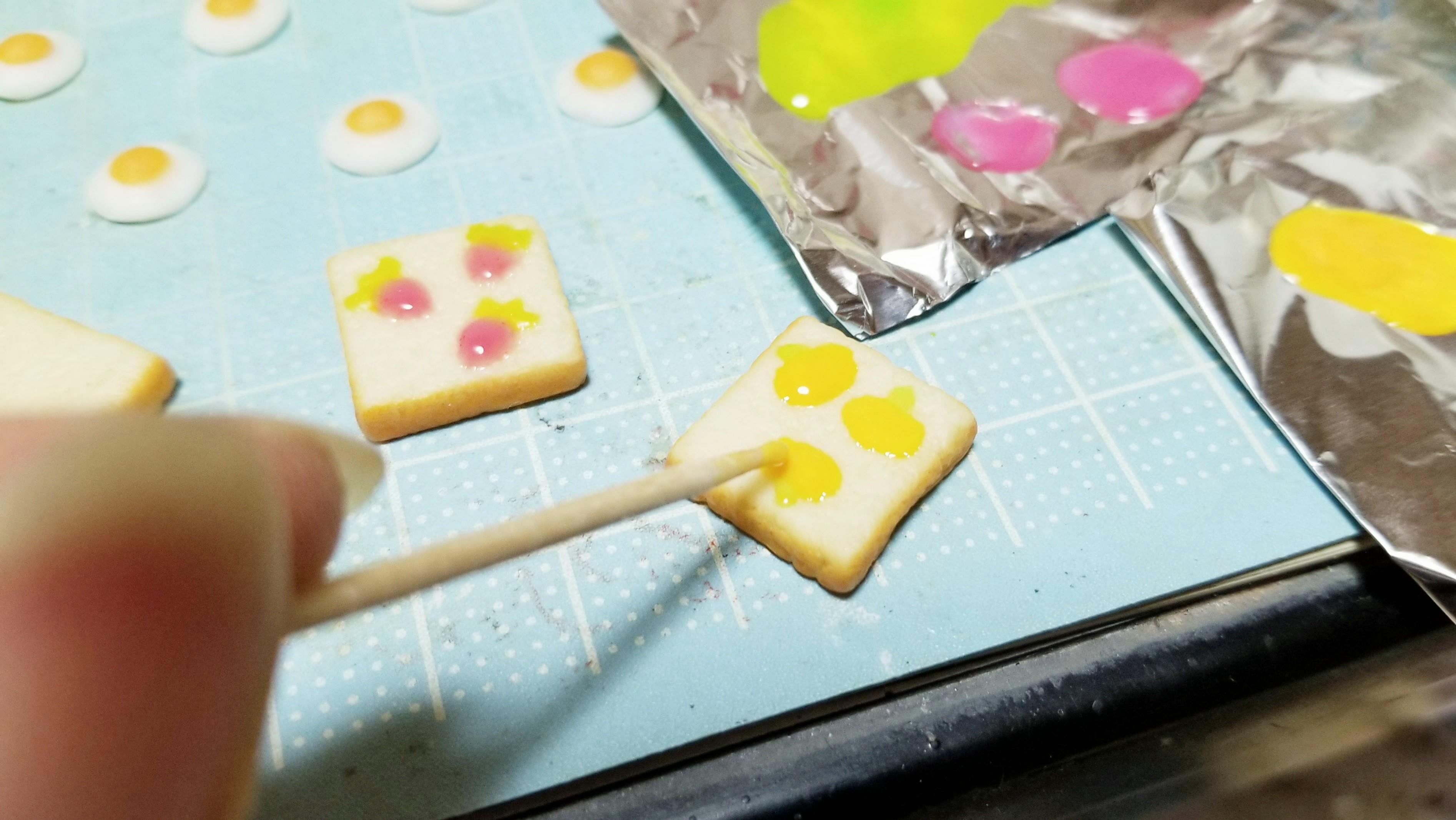 ミニチュアフード作り方食パン柄トースト樹脂粘土ハンドメイドブログ