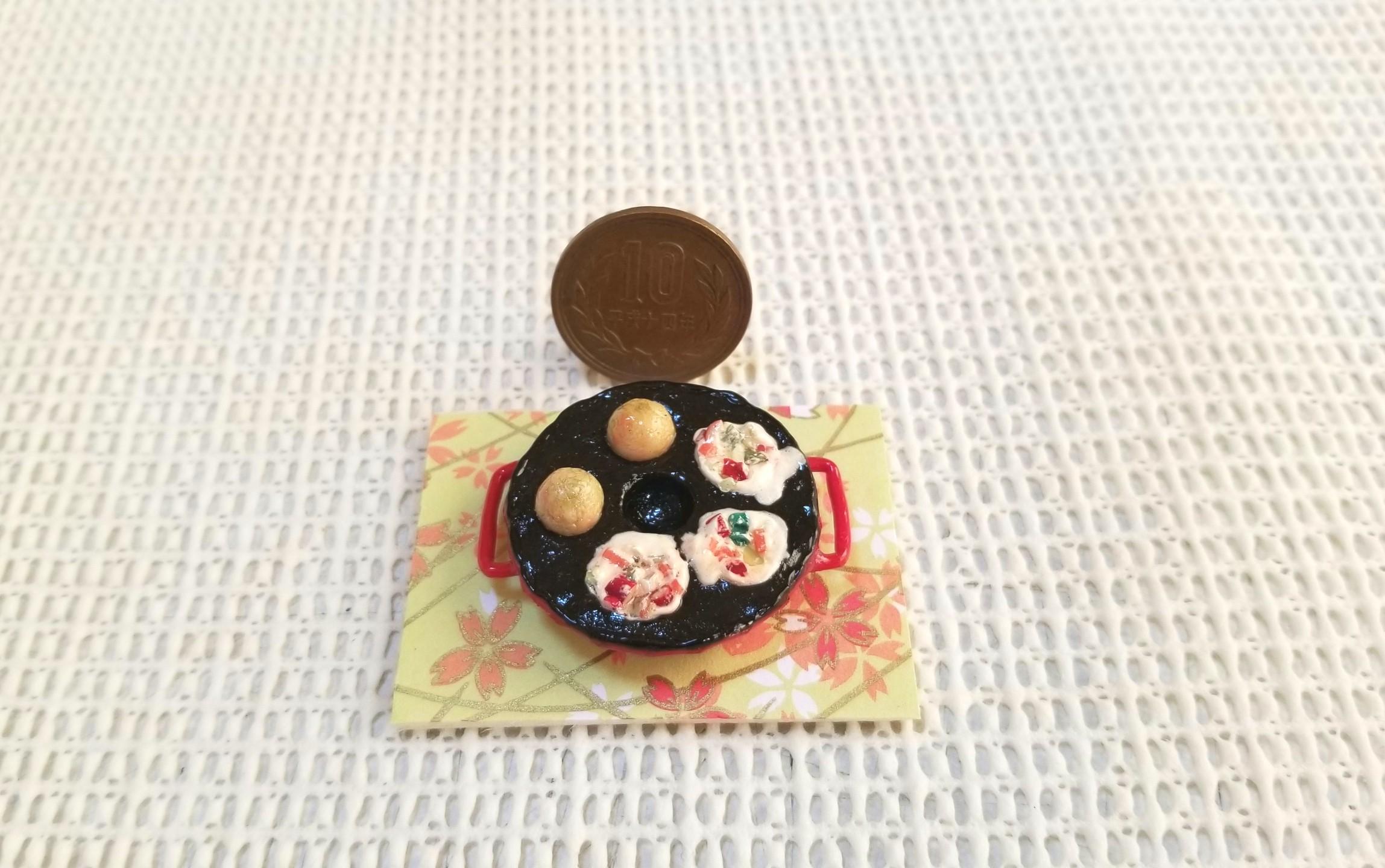 ミニチュア,たこ焼き器,鉄板,樹脂粘土,石塑粉粘土,食品サンプル