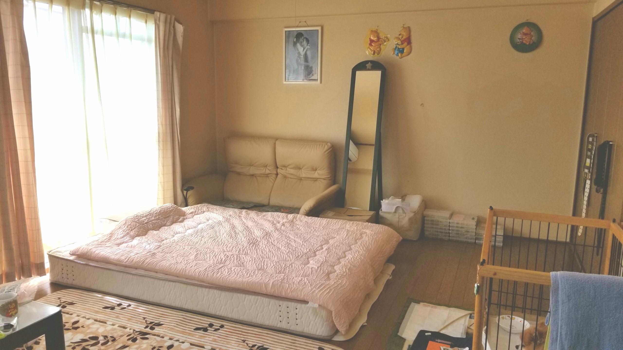 新しいダブルベッド購入,お部屋の模様替え,女子一人暮らしマンション