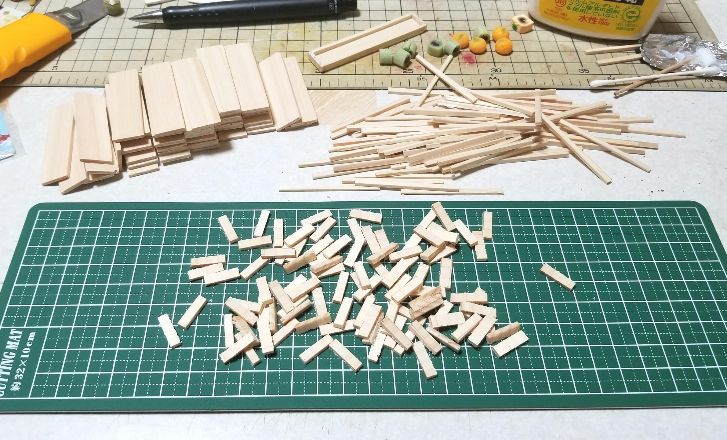 ミニチュア,木工作業,木製トレー,箱,作り方,ヒノキ,桧,ドールハウス