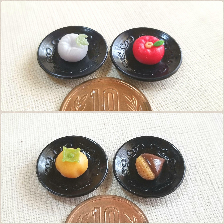 ミンネで割引き販売中,ミニチュア和菓子生菓子,ドール小物,柿,栗