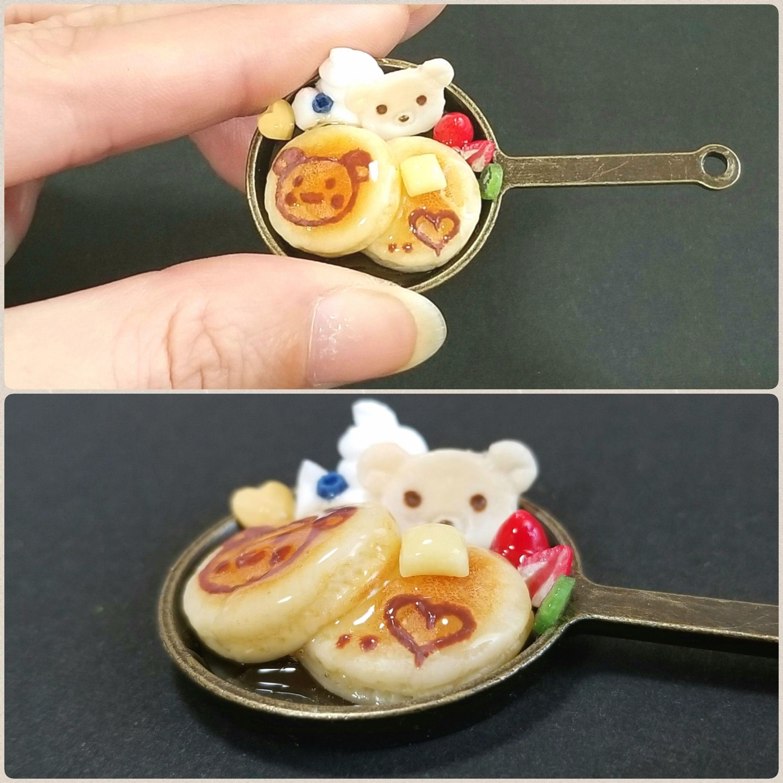 可愛くまちゃんホットケーキ,ミニチュア,食品サンプル,ドール用小物
