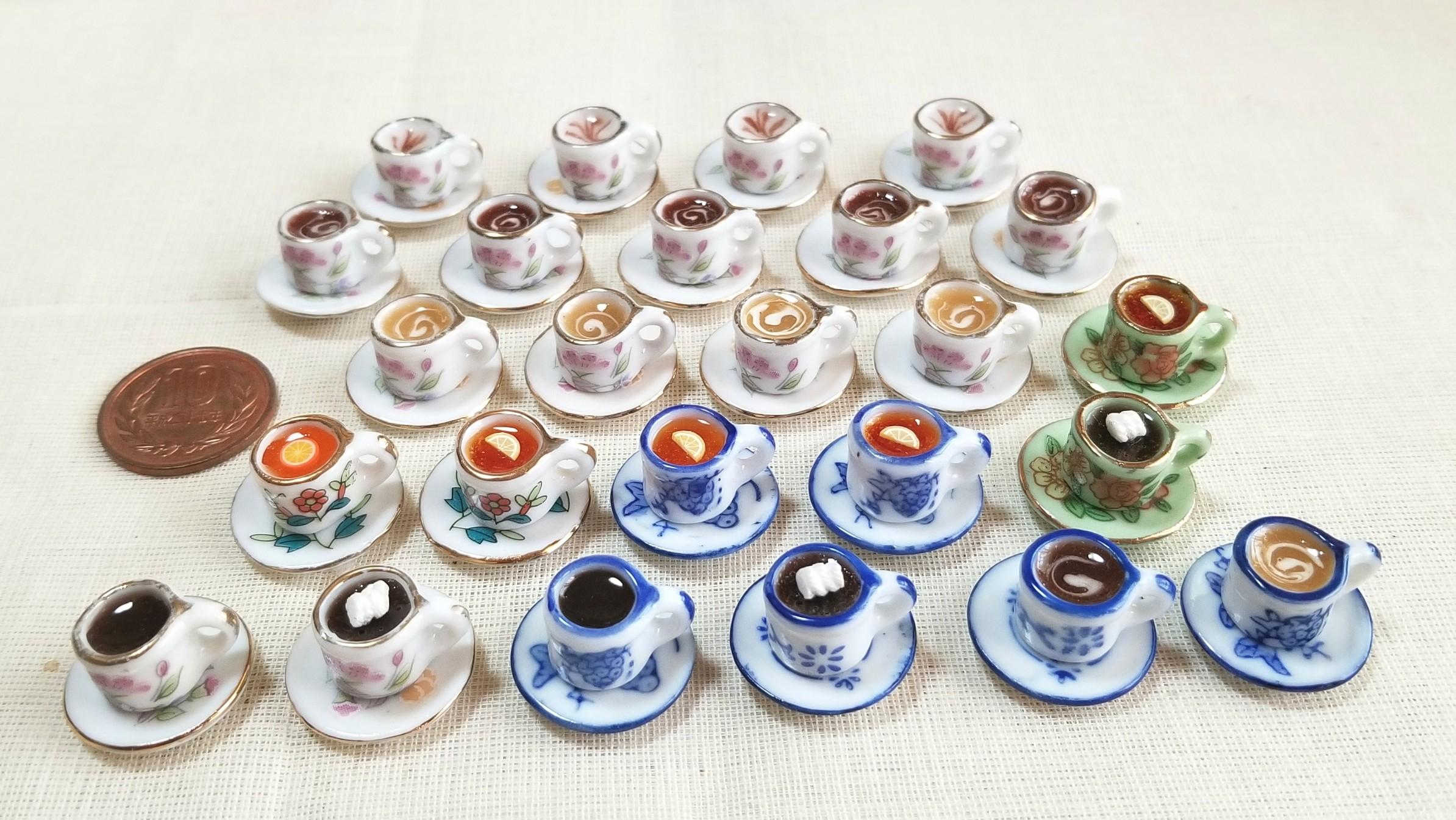 ミニチュアフード,陶器のティーカップ,レジン,ドリンク,ジュース