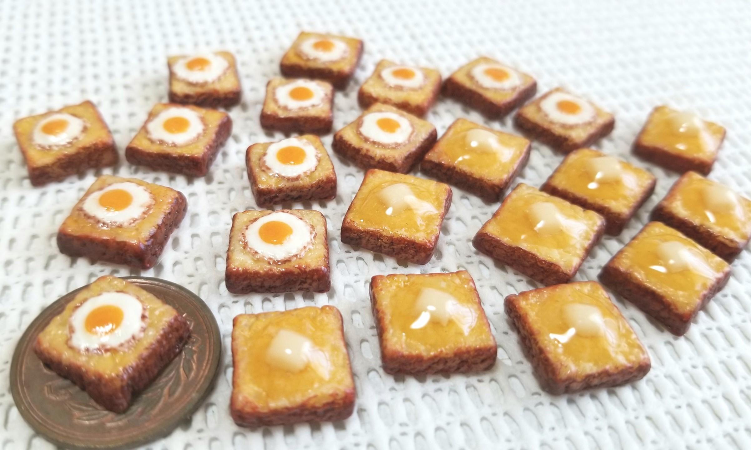 ミニチュアフード, トースト, 目玉焼き, バター, 樹脂粘土, 食パン