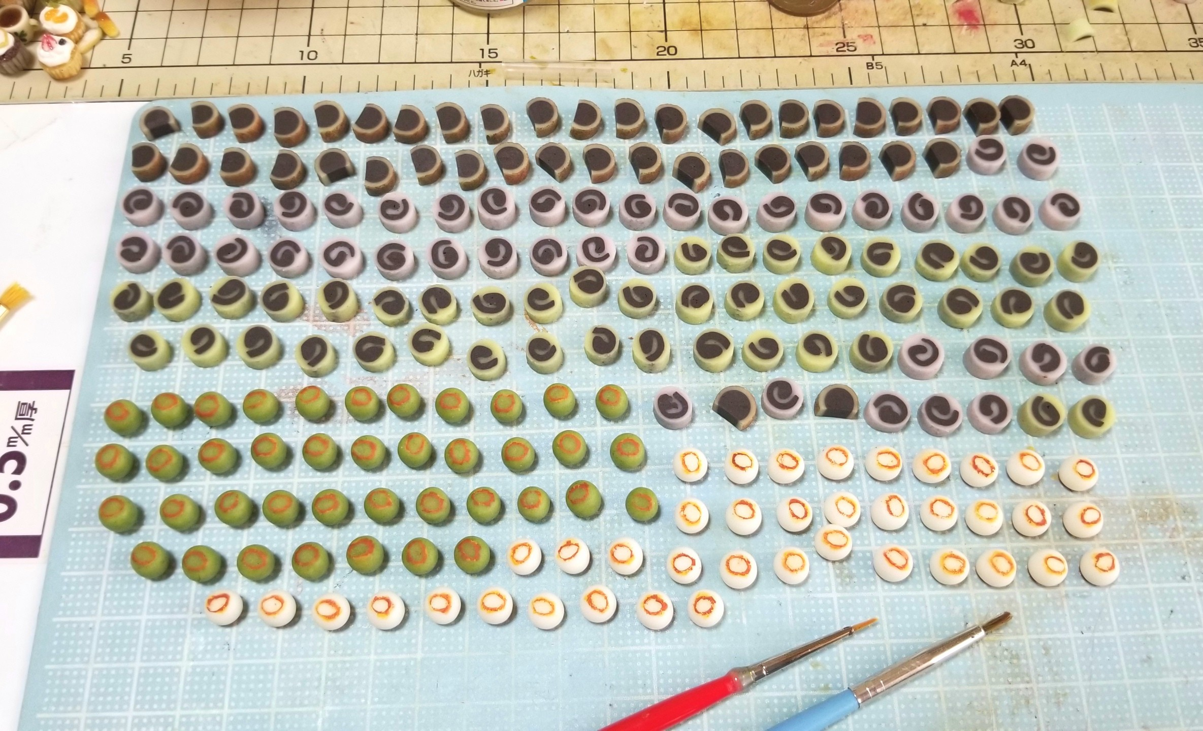 ミニチュア,和菓子,ニス塗り,樹脂粘土,食品サンプル,ハンドメイド