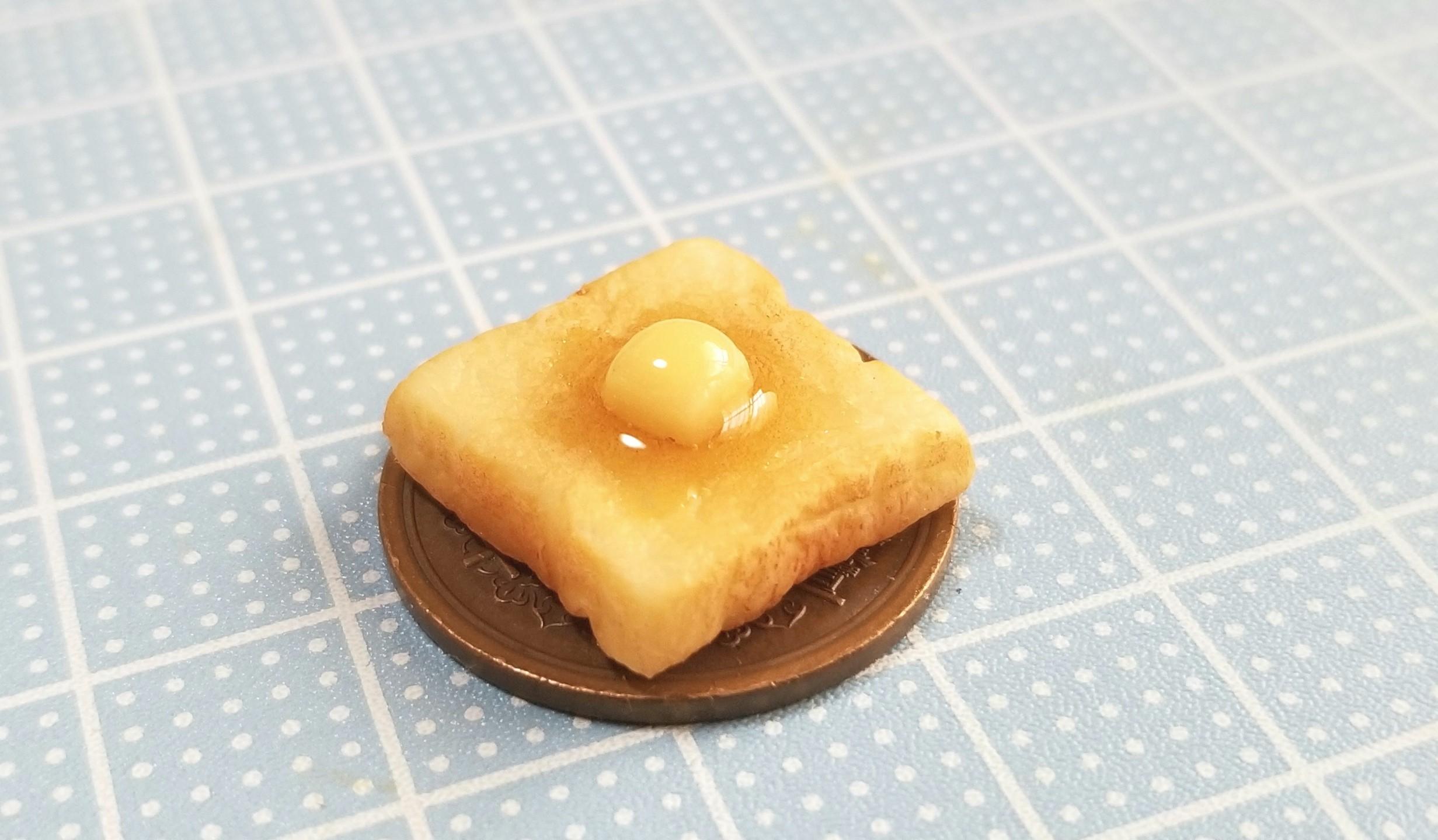 バタートースト,ミニチュア,食パン,樹脂粘土,ミニスウィーツドール